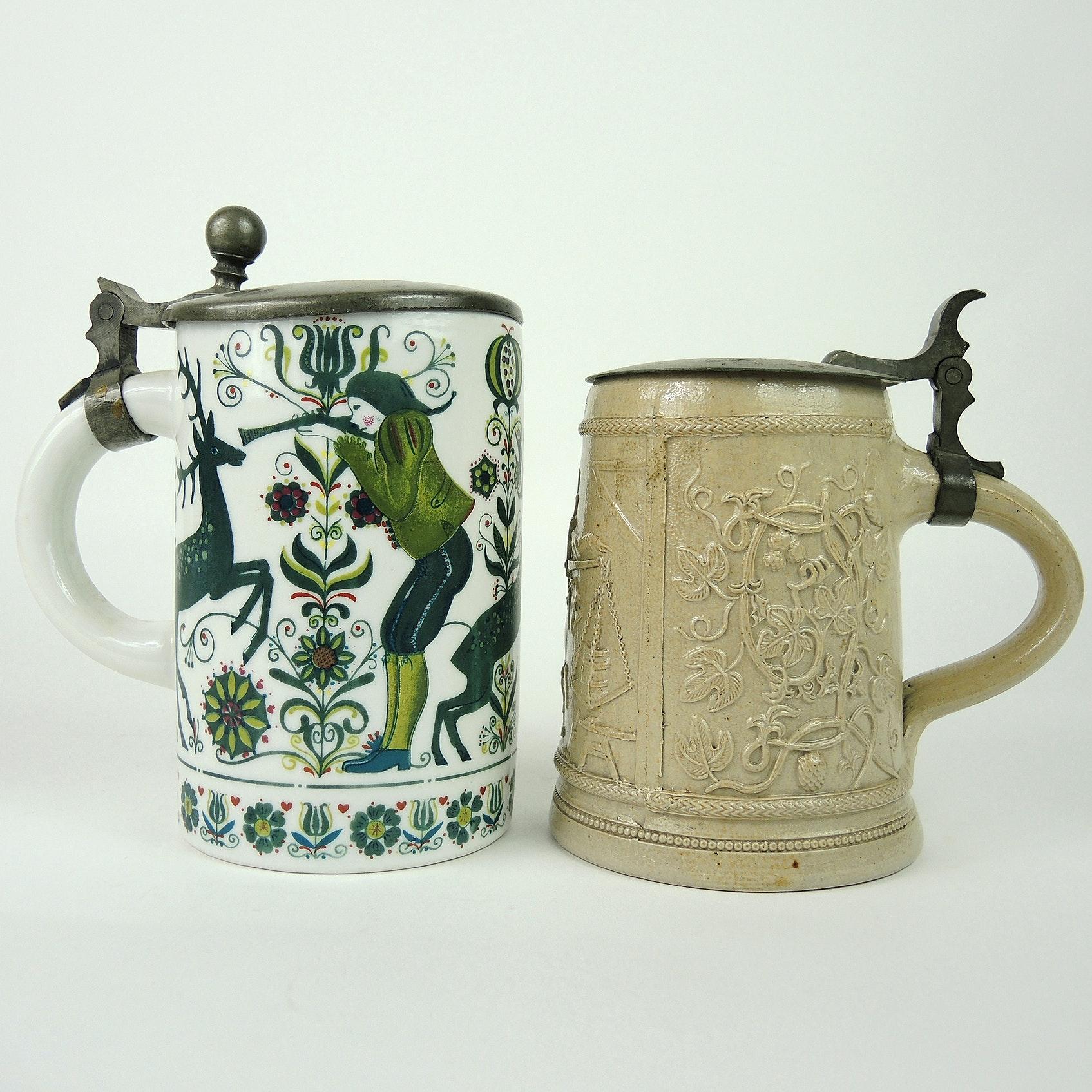19th Cent. German Salt Glaze Pottery and Porcelain Beer Stein
