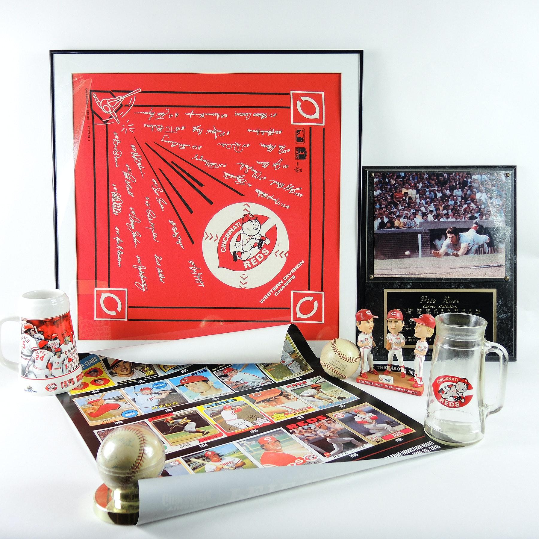Cincinnati Reds Memorabilia Including Signed Baseball