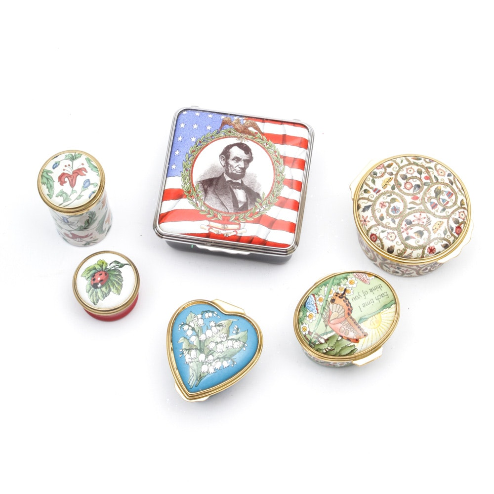 English Enamel Trinket Boxes Featuring Halcyon Days