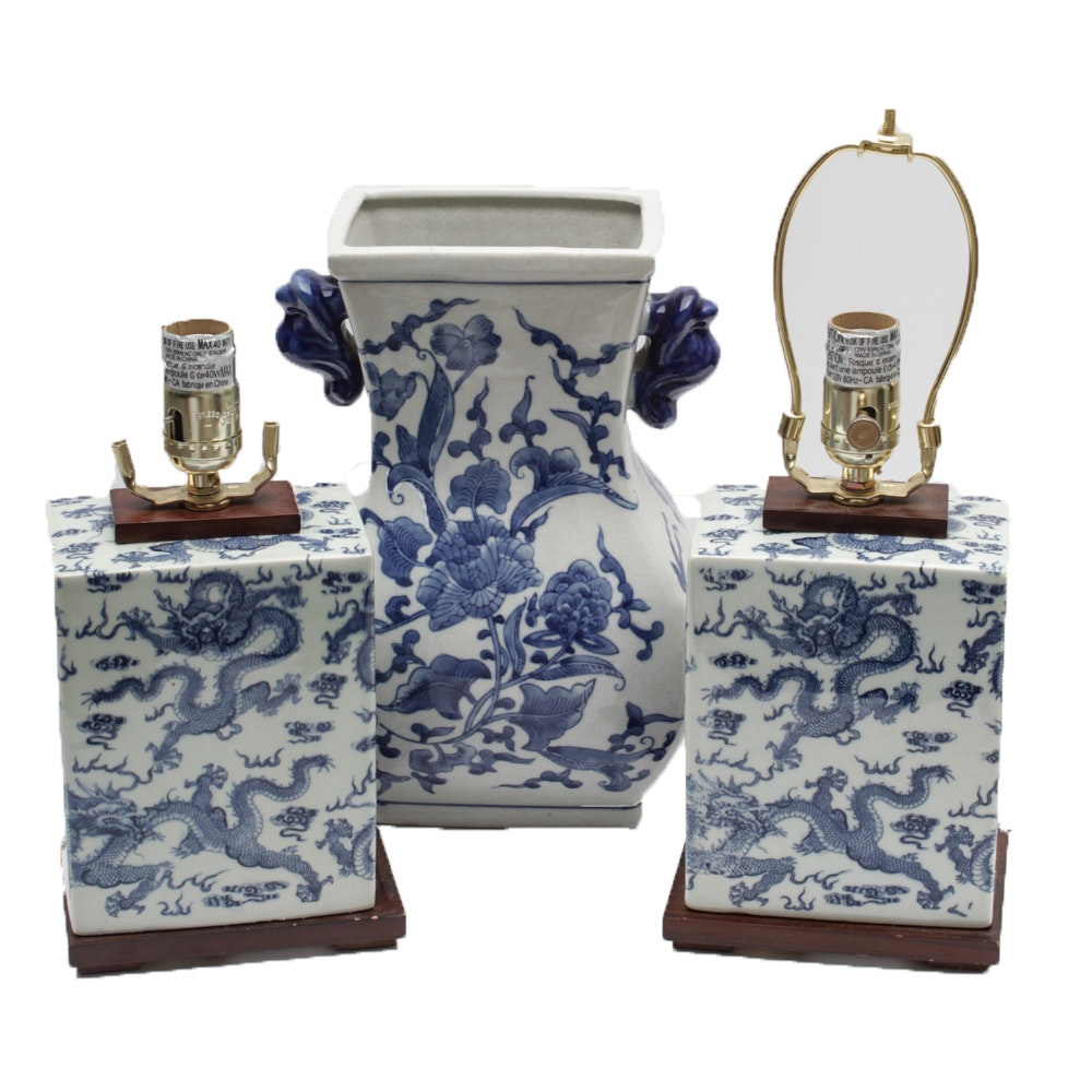 Chinese Blue and White Table Lamps and Vase Including Lauren