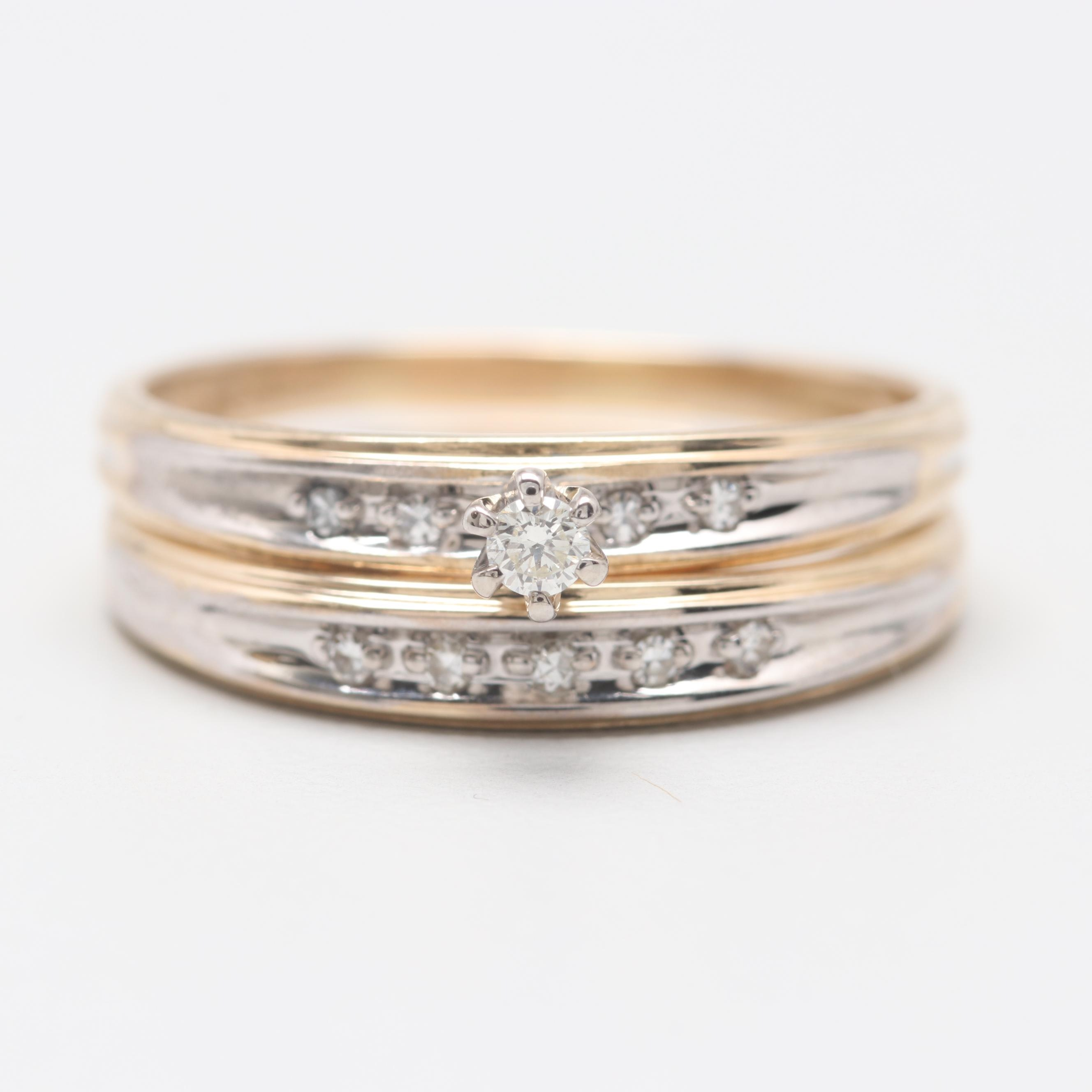 14K Yellow Gold Diamond Wedding Ring Set