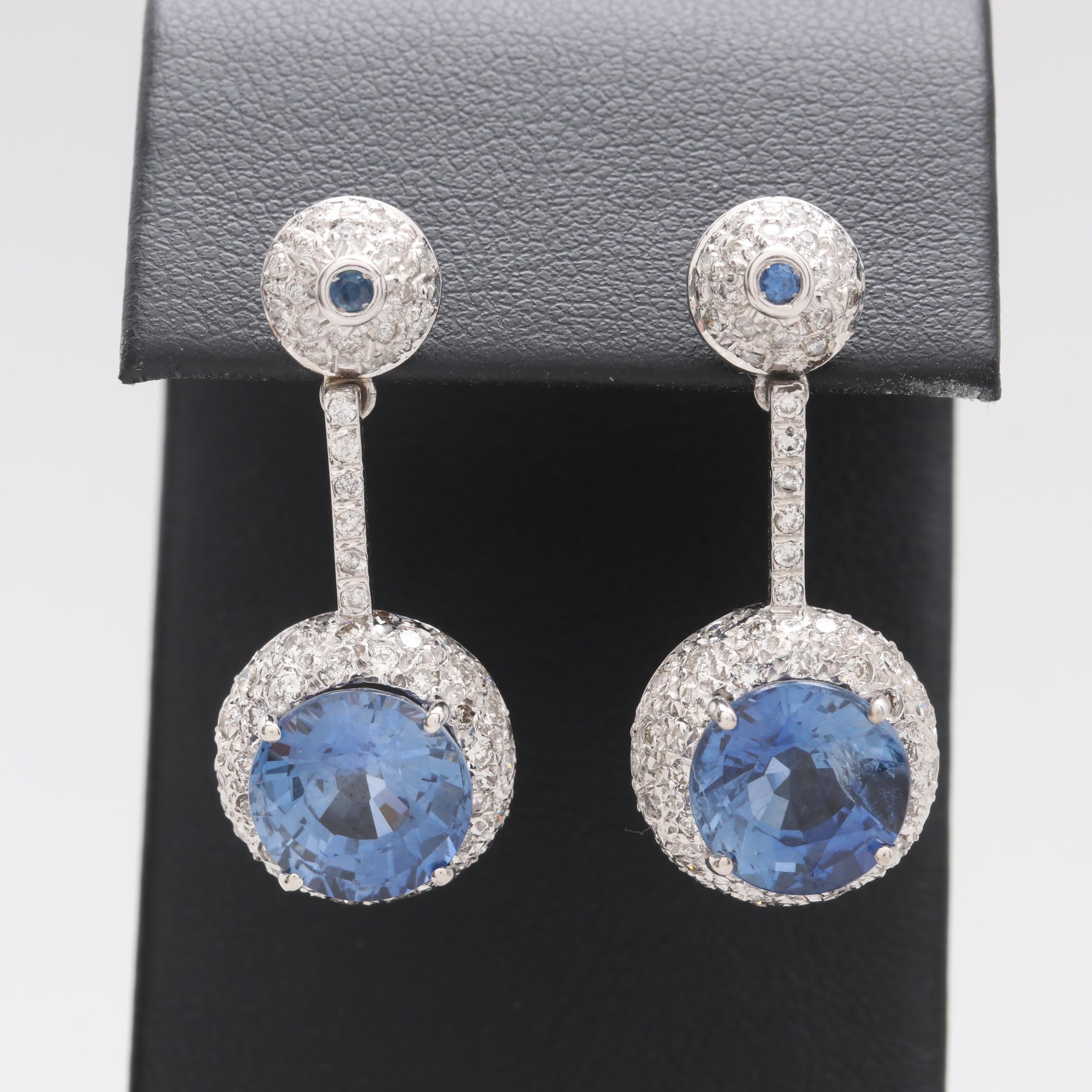 14K White Gold Synthetic Sapphire and Diamond Drop Earrings