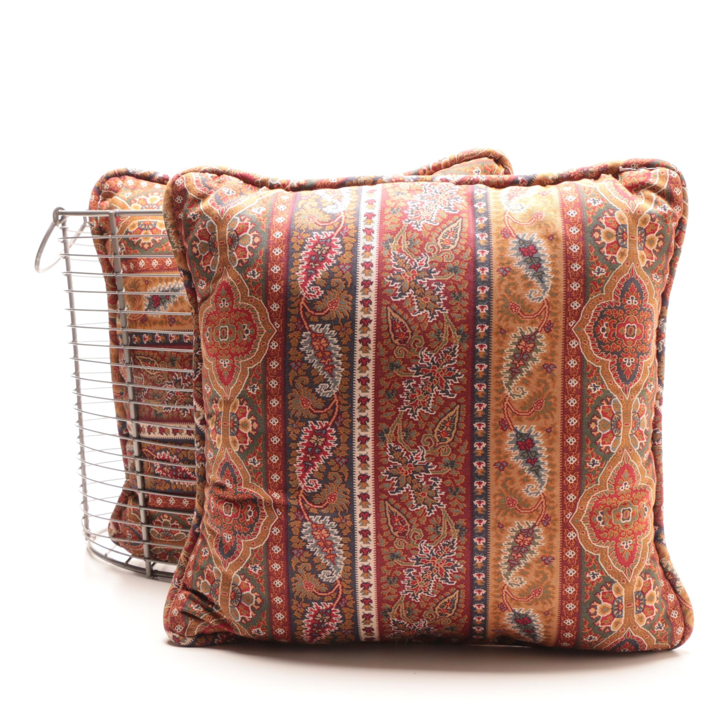 Decorative Wire Basket and Accent Pillows