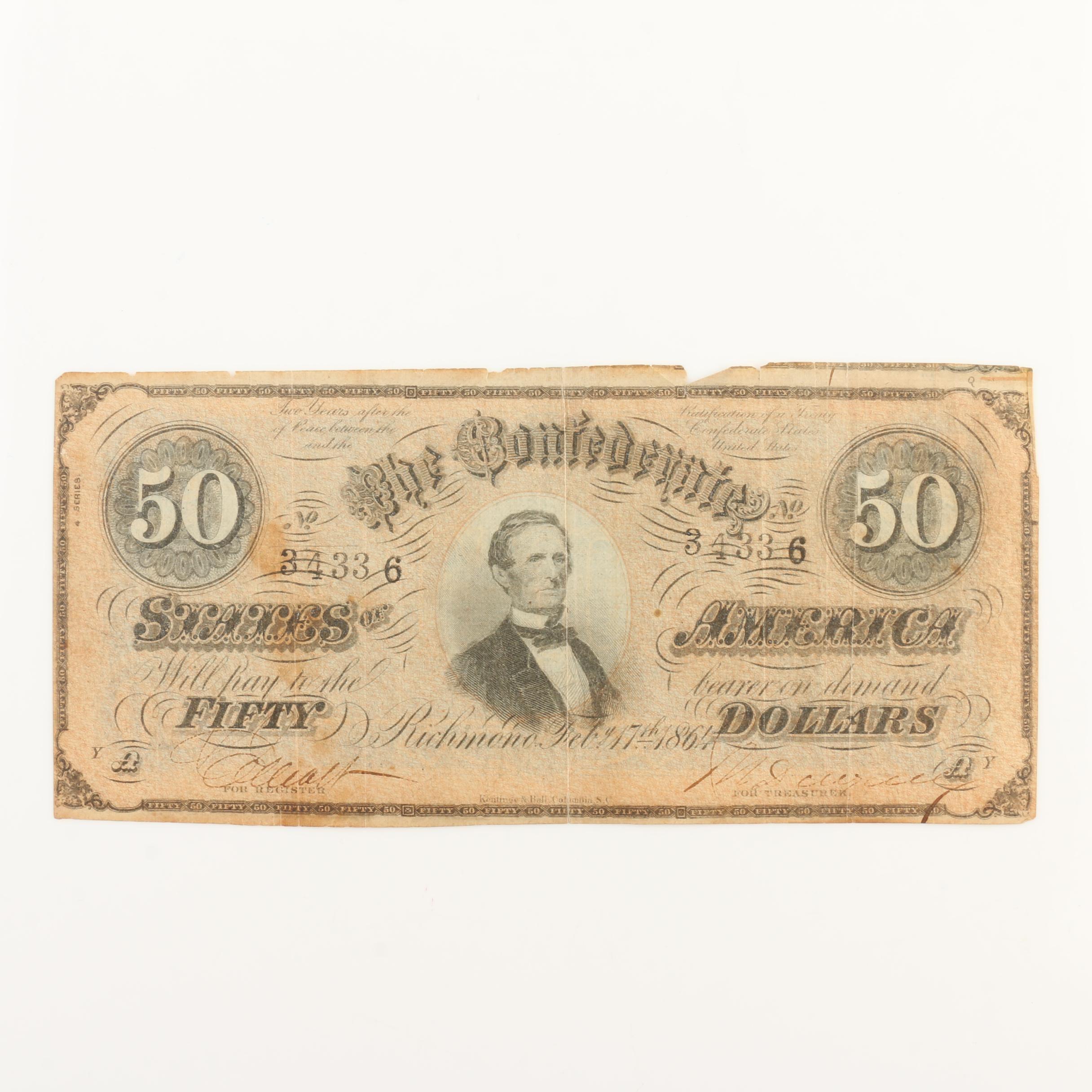 Obsolete 1864 $50 Confederate States of America Banknote