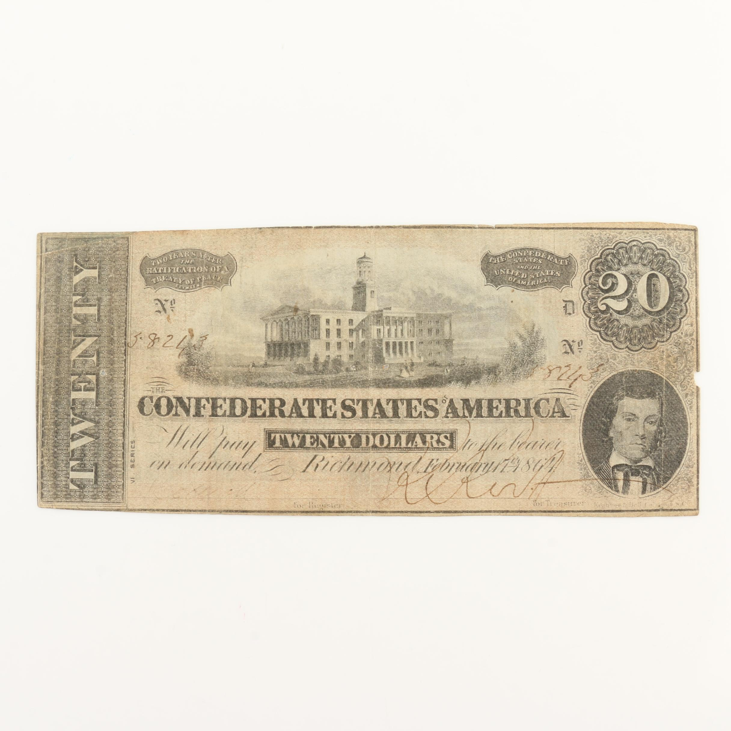 Obsolete 1864 $20 Confederate States of America Banknote