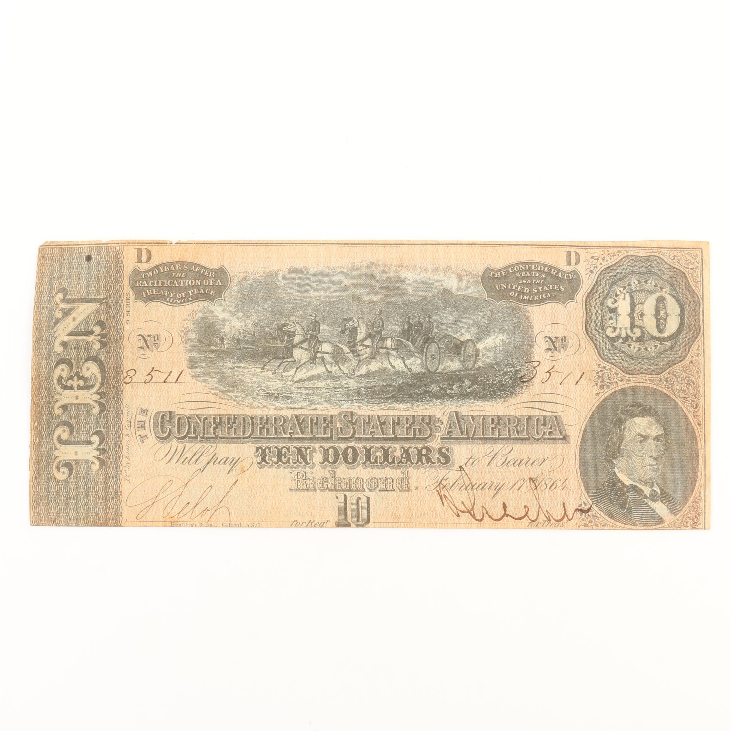 Obsolete $10 Confederate States of America Banknote