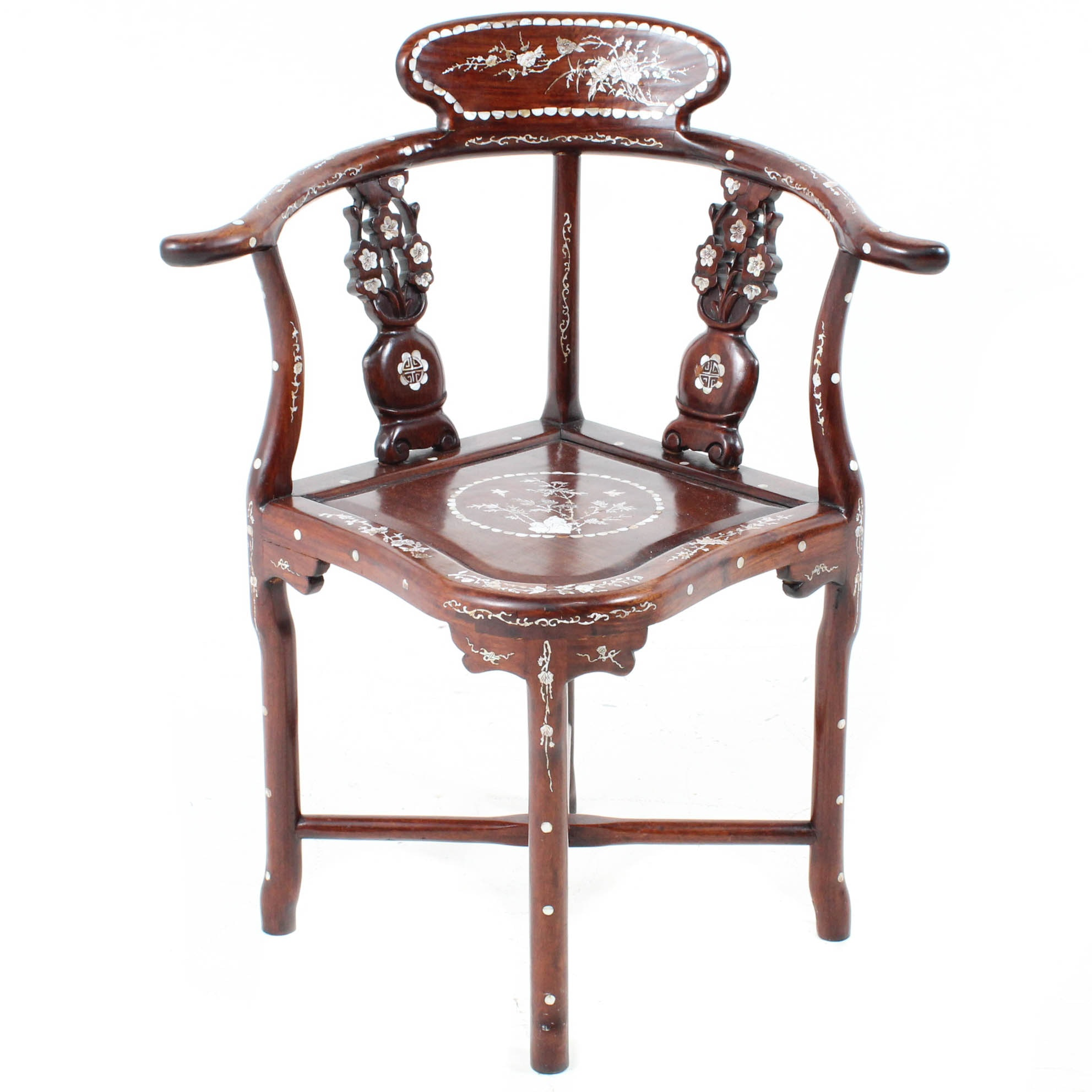 Chinese Mother-of-Pearl Inlaid Carved Wood Chair