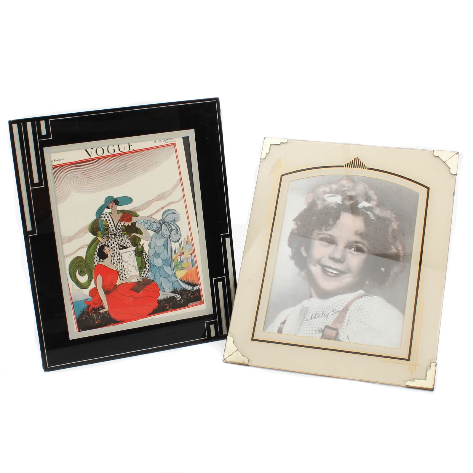 Reverse Painted Art Deco Glass Picture Frames