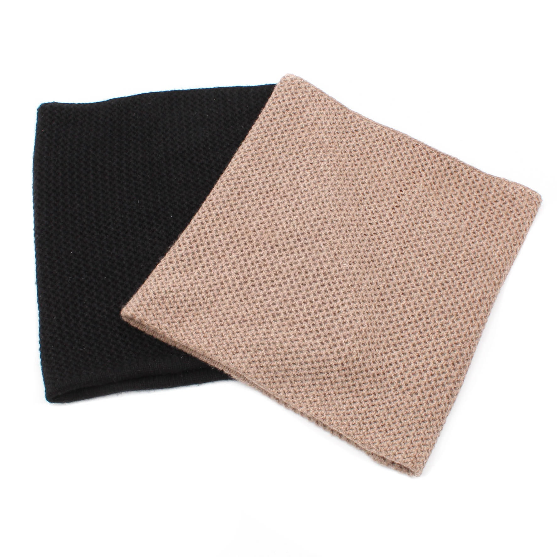 Portolano Cashmere Knit Infinity Scarves in Beige and Black