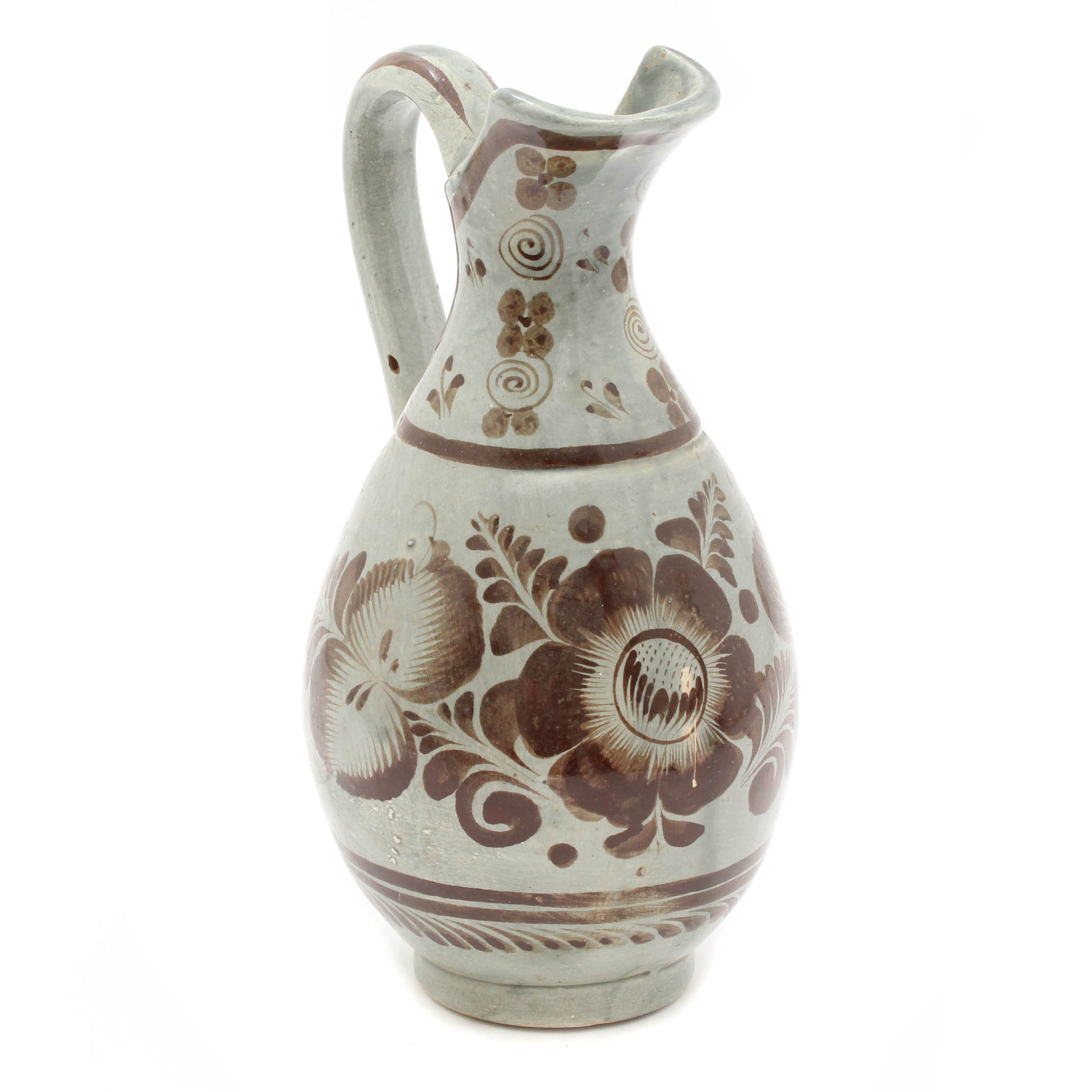Hand-Painted Earthenware Ewer
