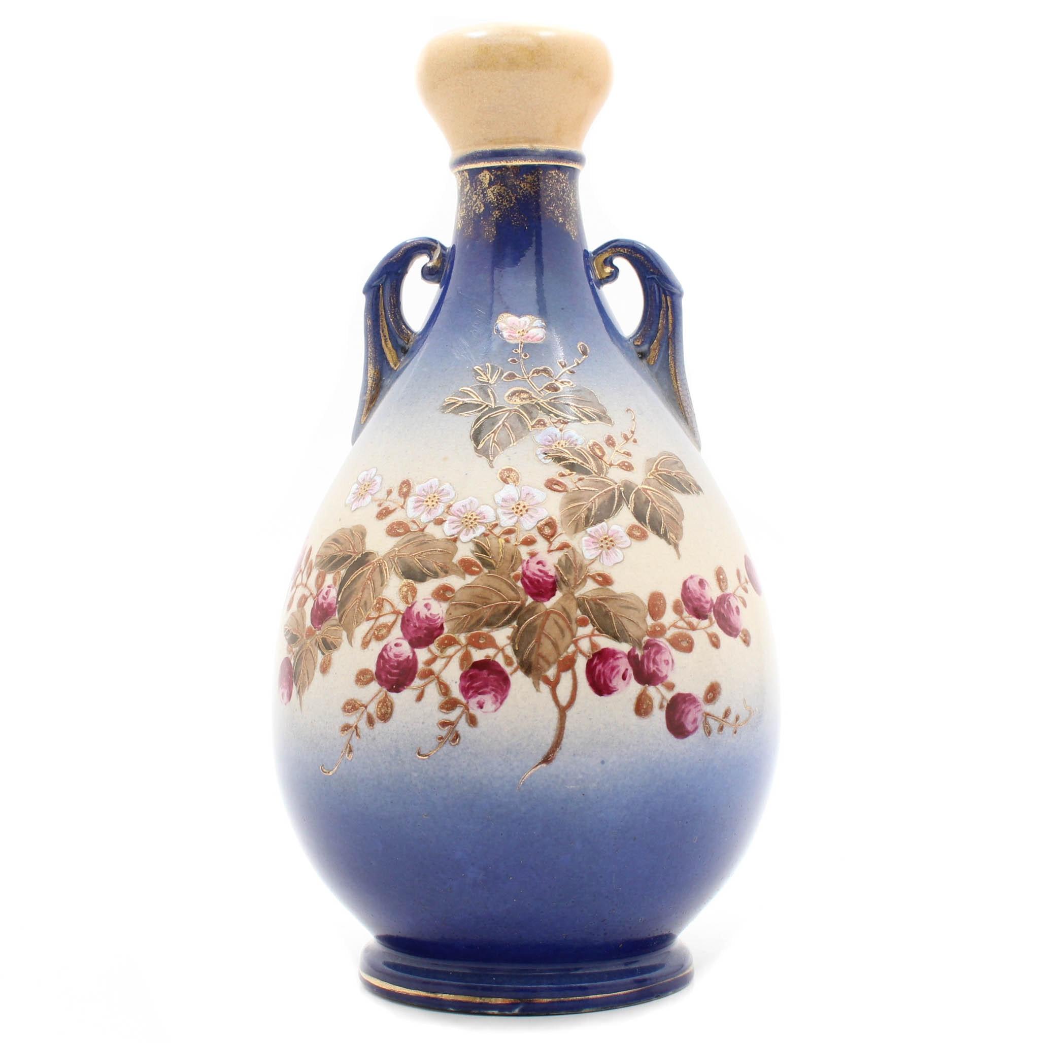 Hand-Painted Decorative Stoneware Vase