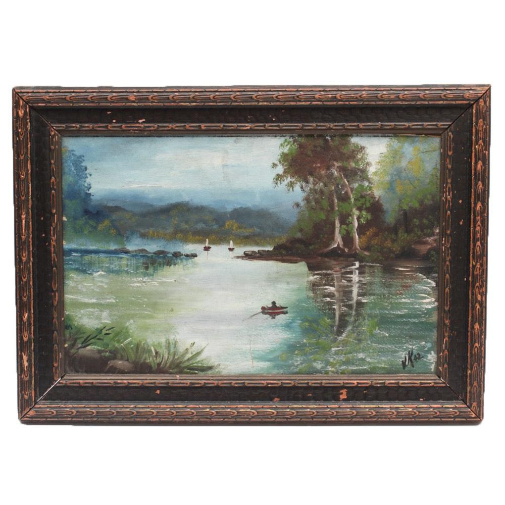 W.A. Von Korff 1942 Landscape Oil Painting
