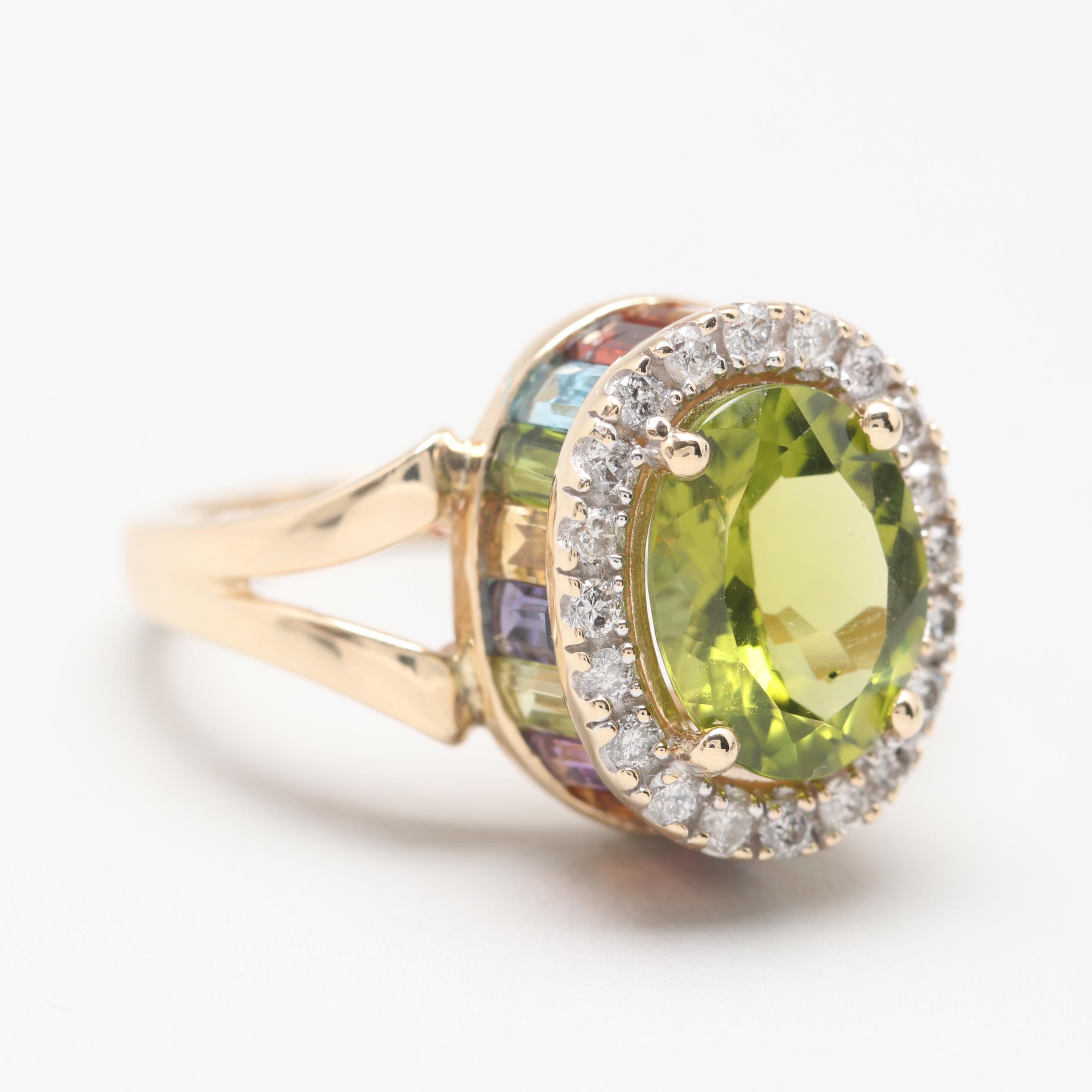 14K Yellow Gold Peridot, Diamond, and Gemstone Ring
