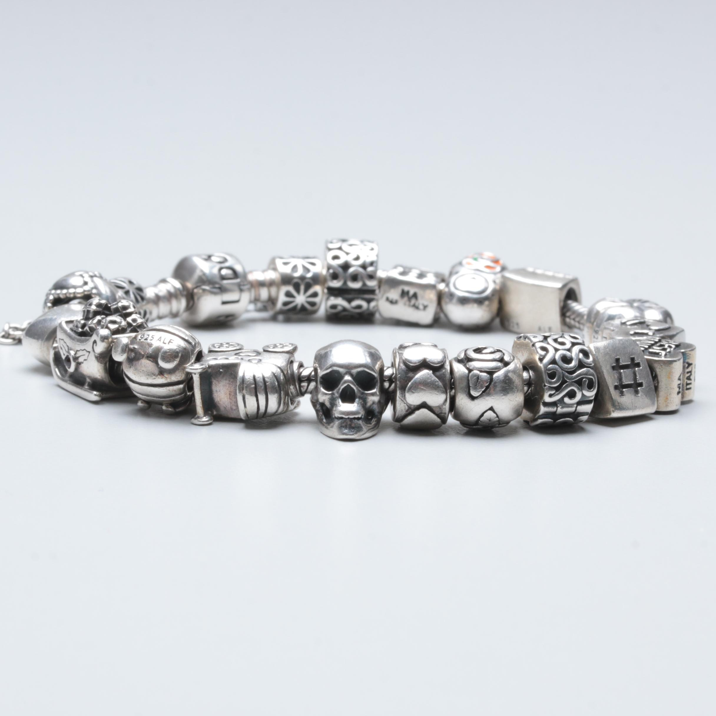 Pandora Sterling Silver Charm Bracelet with Sterling Charms