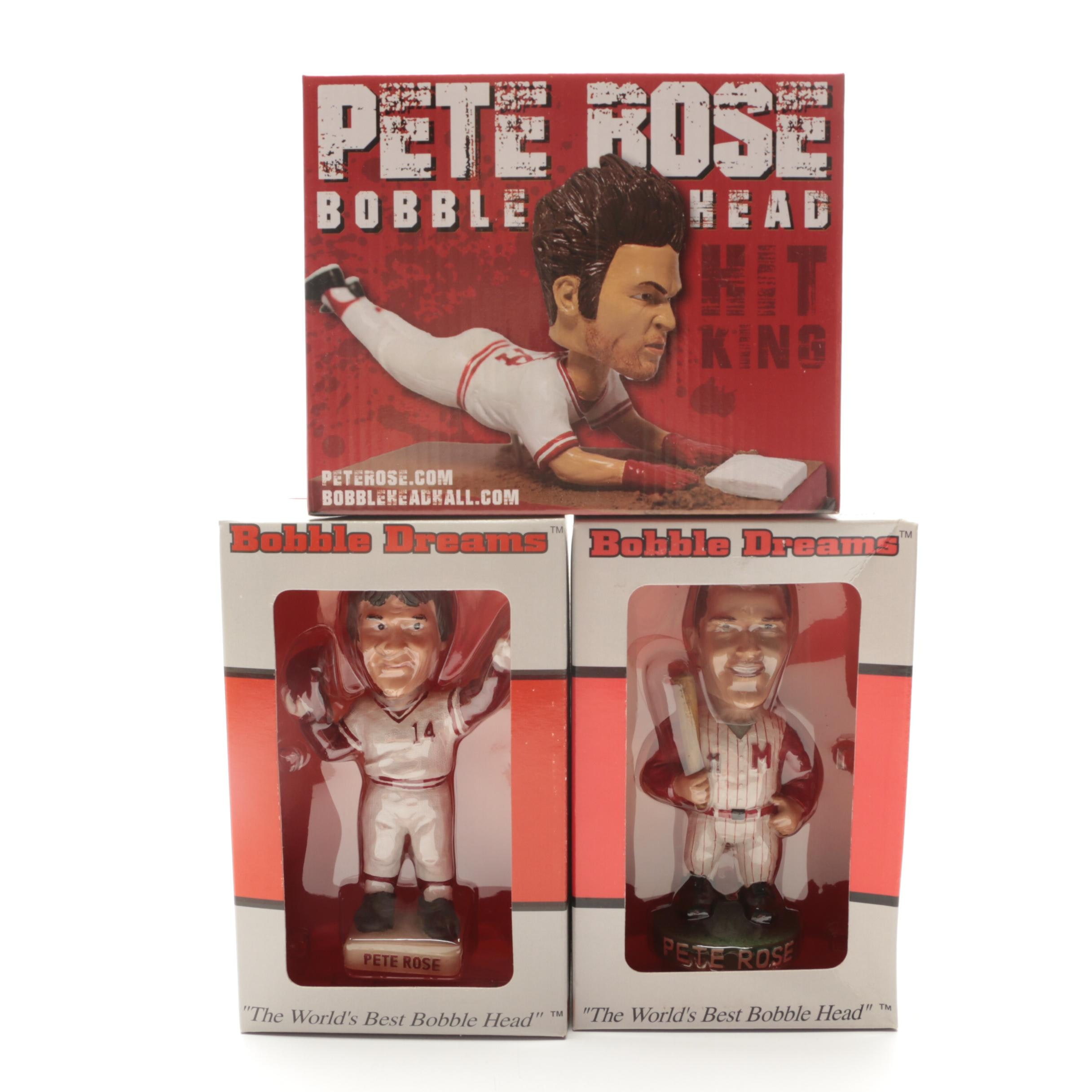 Three Pete Rose Bobblehead Dolls With Original Boxes