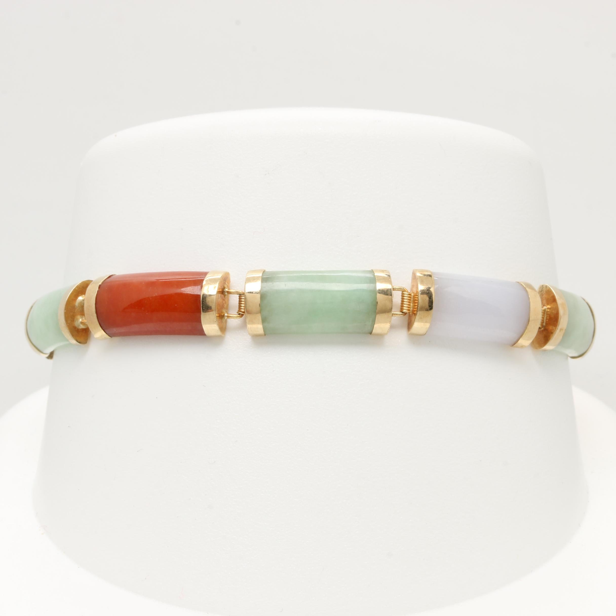 14K Yellow Gold Jadeite Bracelet