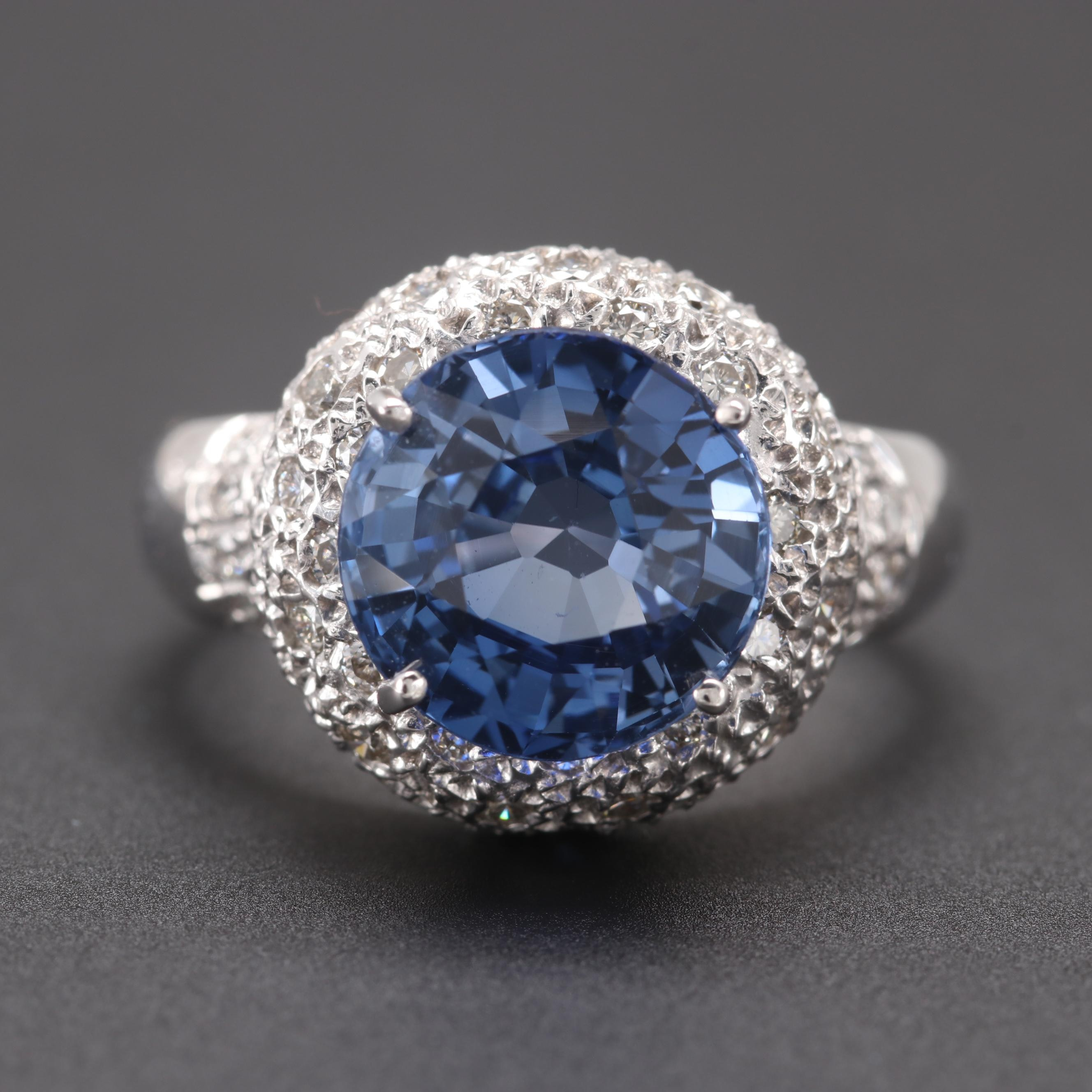 14K White Gold Synthetic Sapphire and Diamond Ring