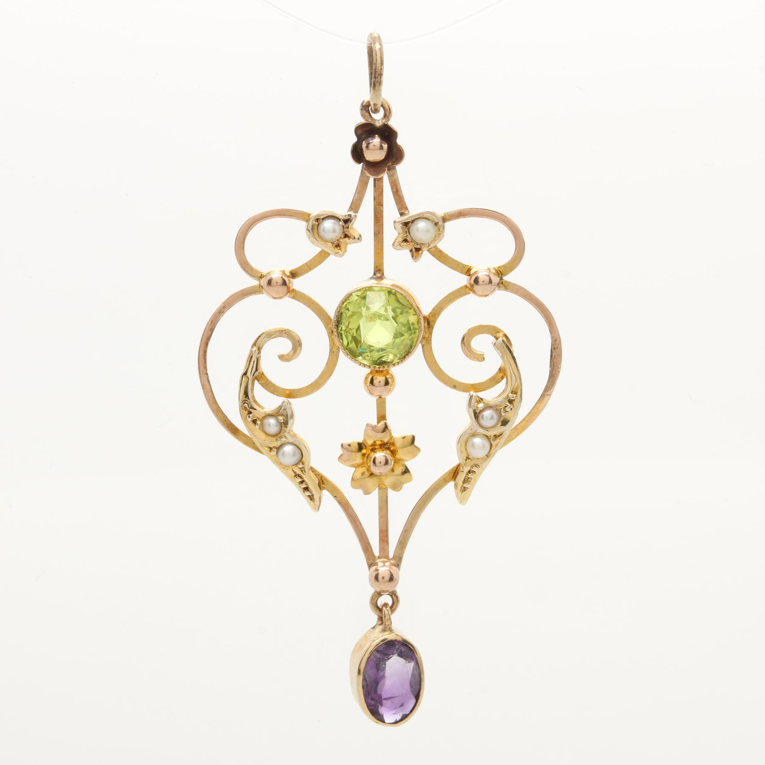 10K Yellow and Rose Gold Glass, Amethyst, and Seed Pearl Pendant