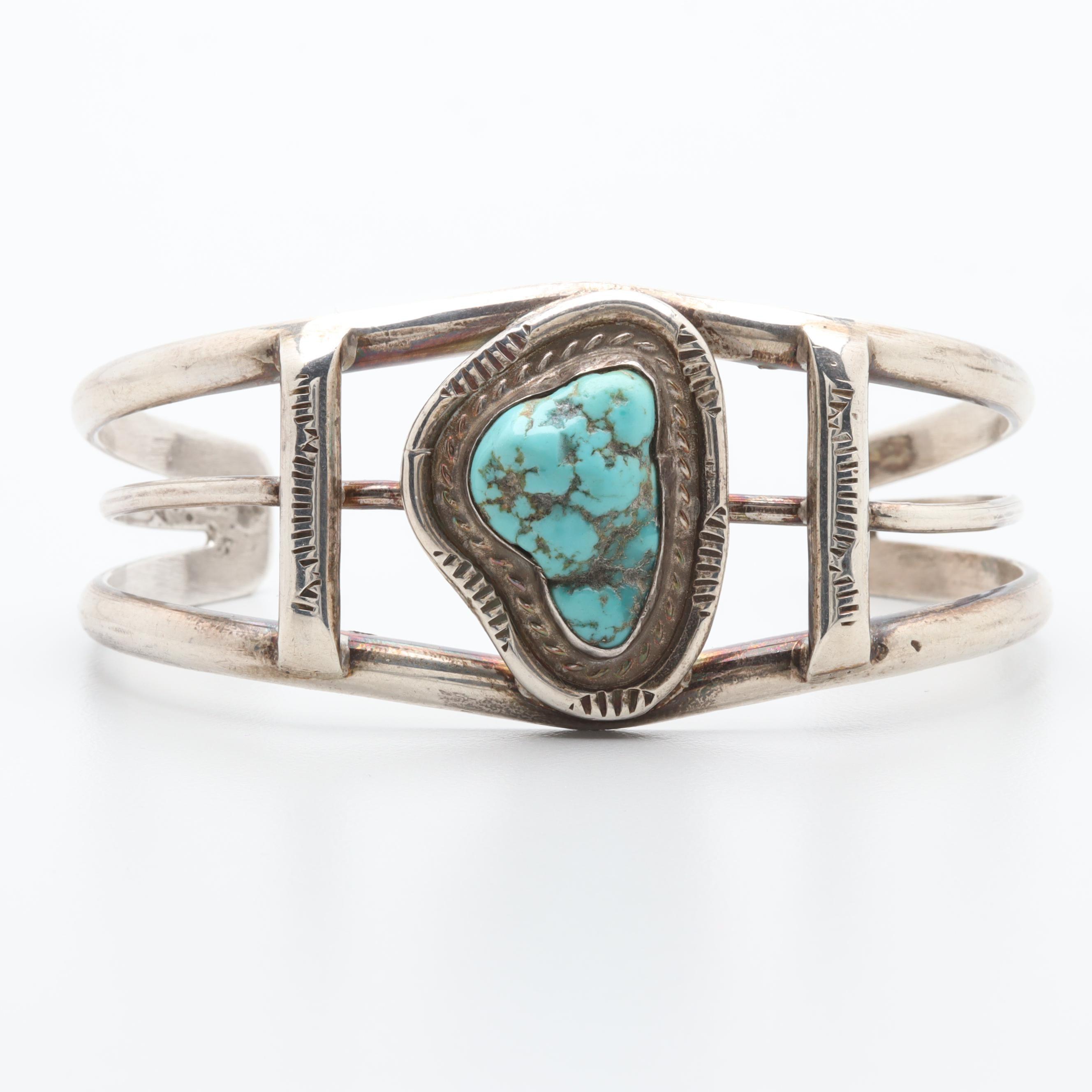 Southwestern Style Sterling Silver Turquoise Cuff Bracelet