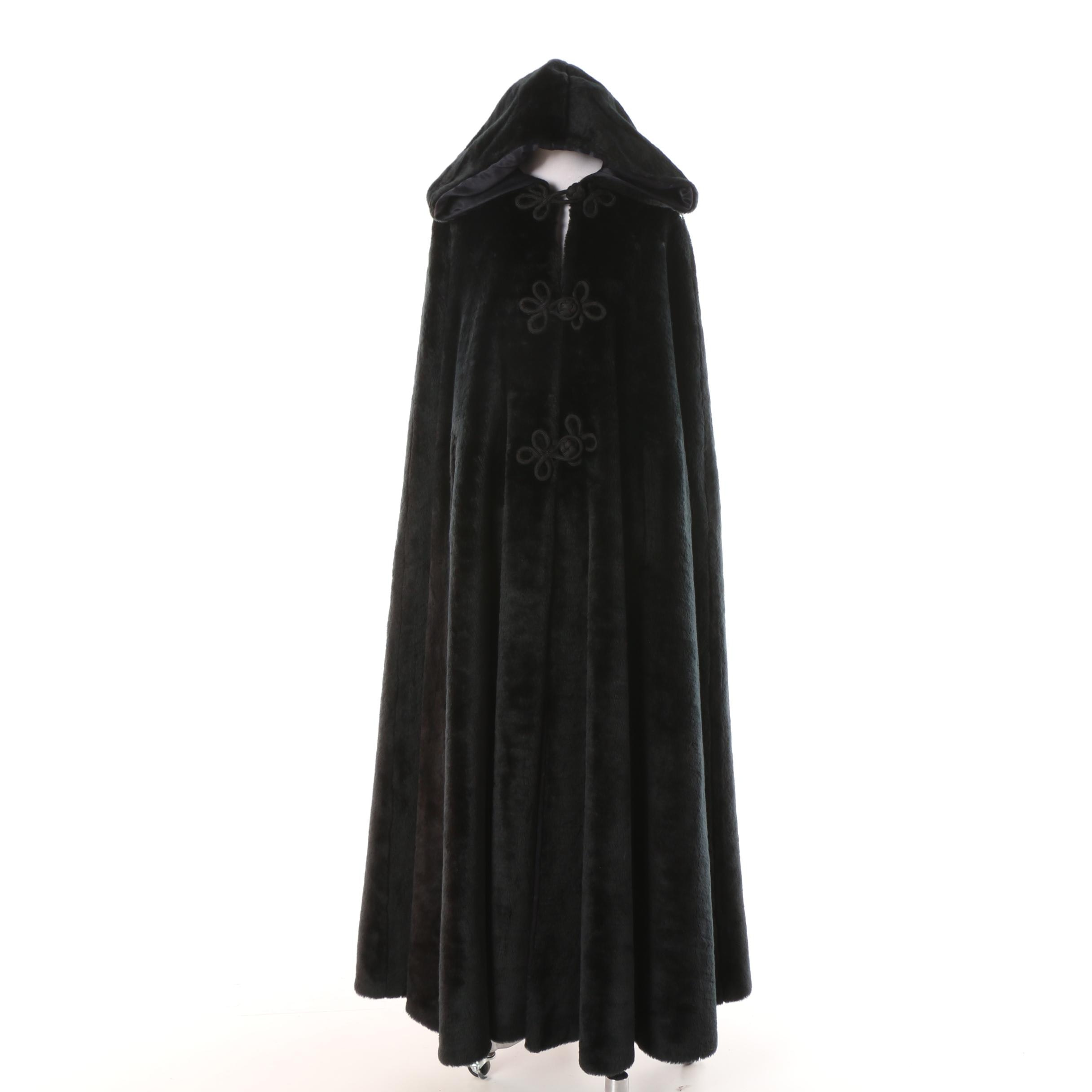 Women's Black Faux Fur Hooded Cape