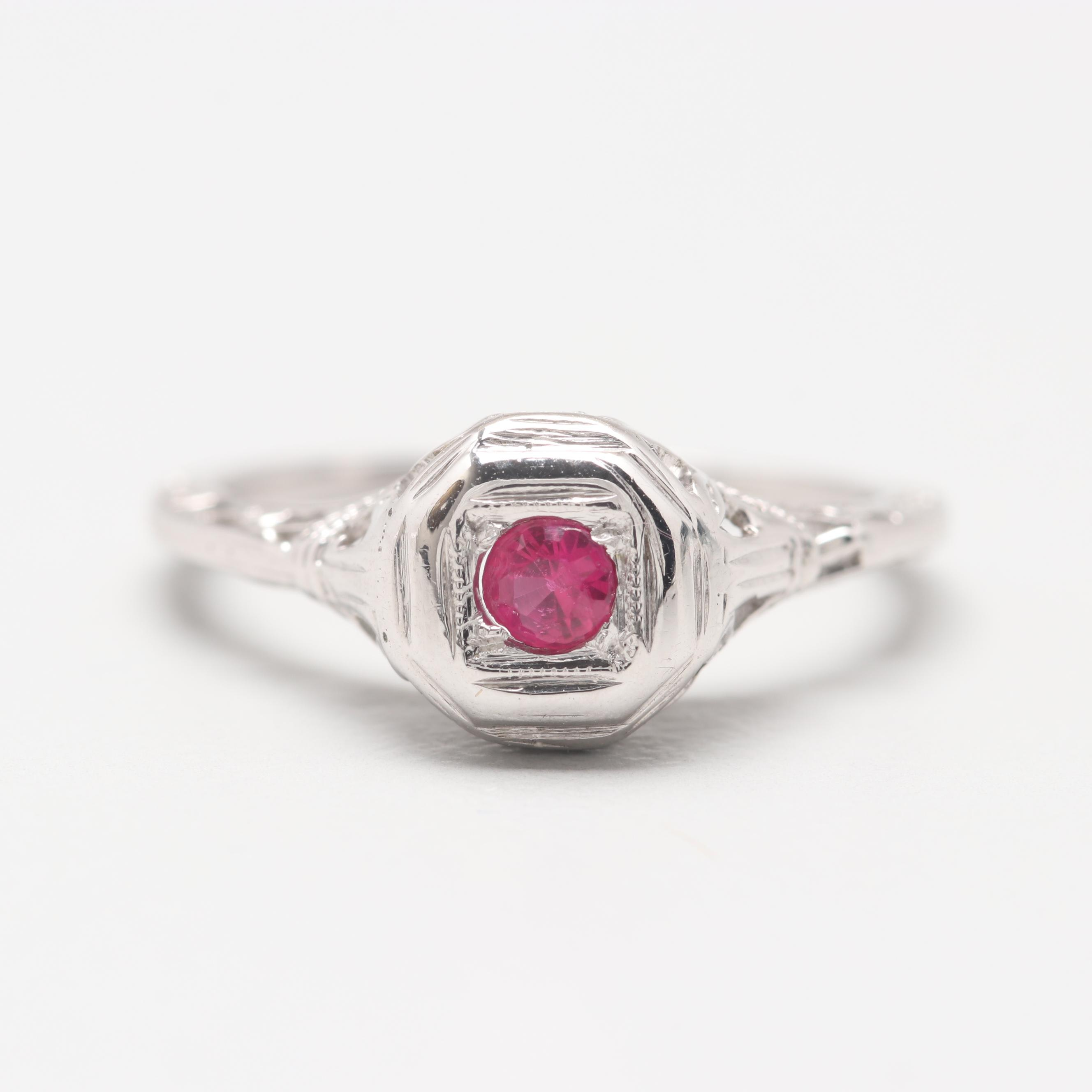 Art Deco 18K White Gold Synthetic Ruby Ring