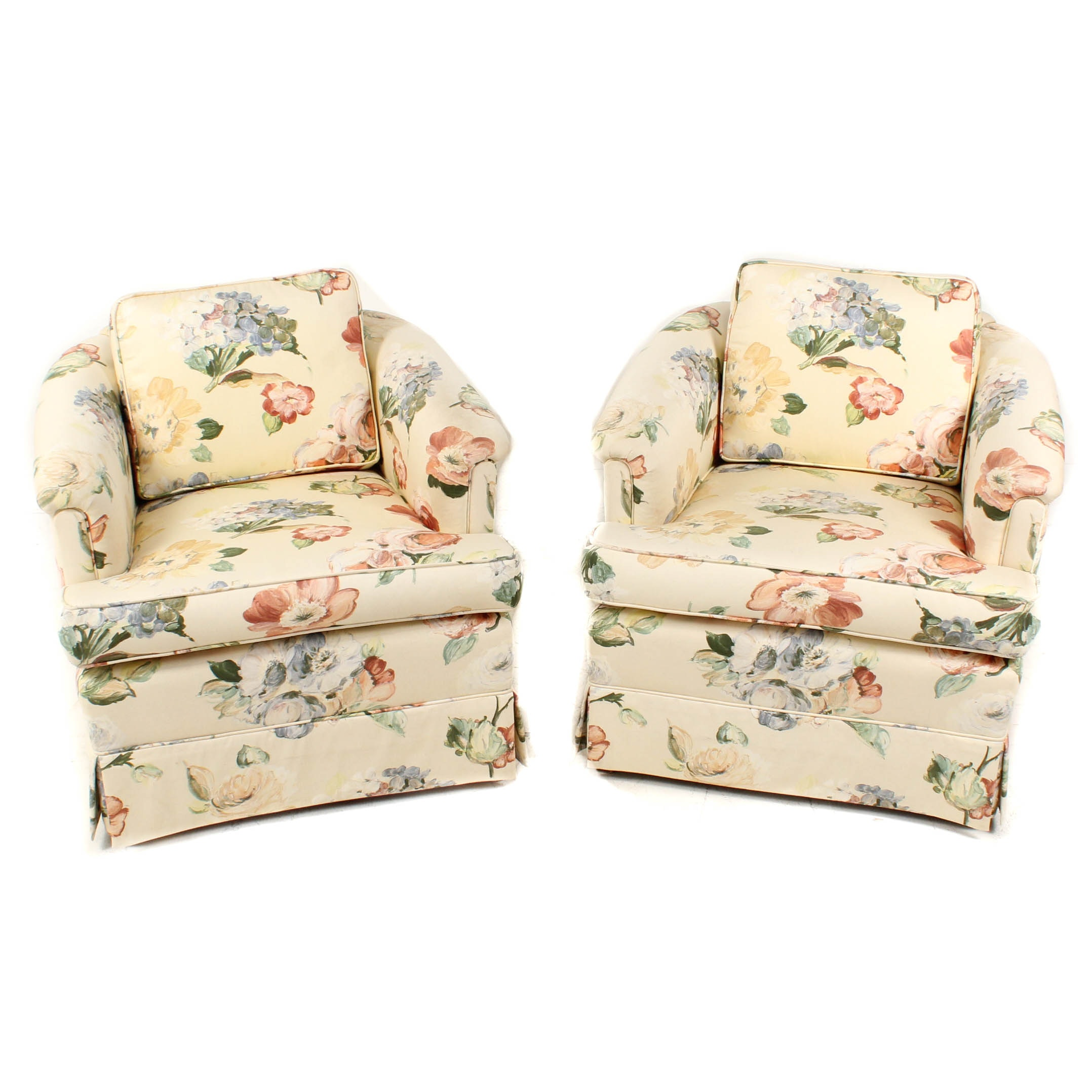 Floral Upholstered Armchairs