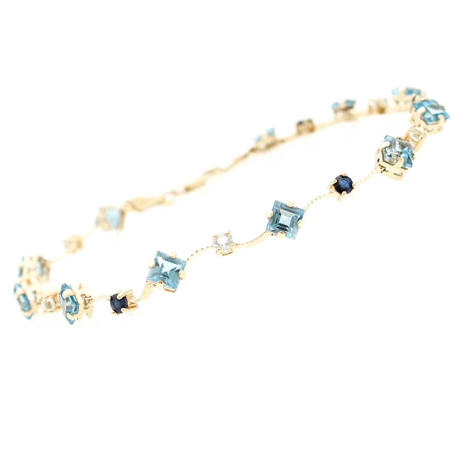 14K Yellow Gold Topaz and Sapphire Bracelet