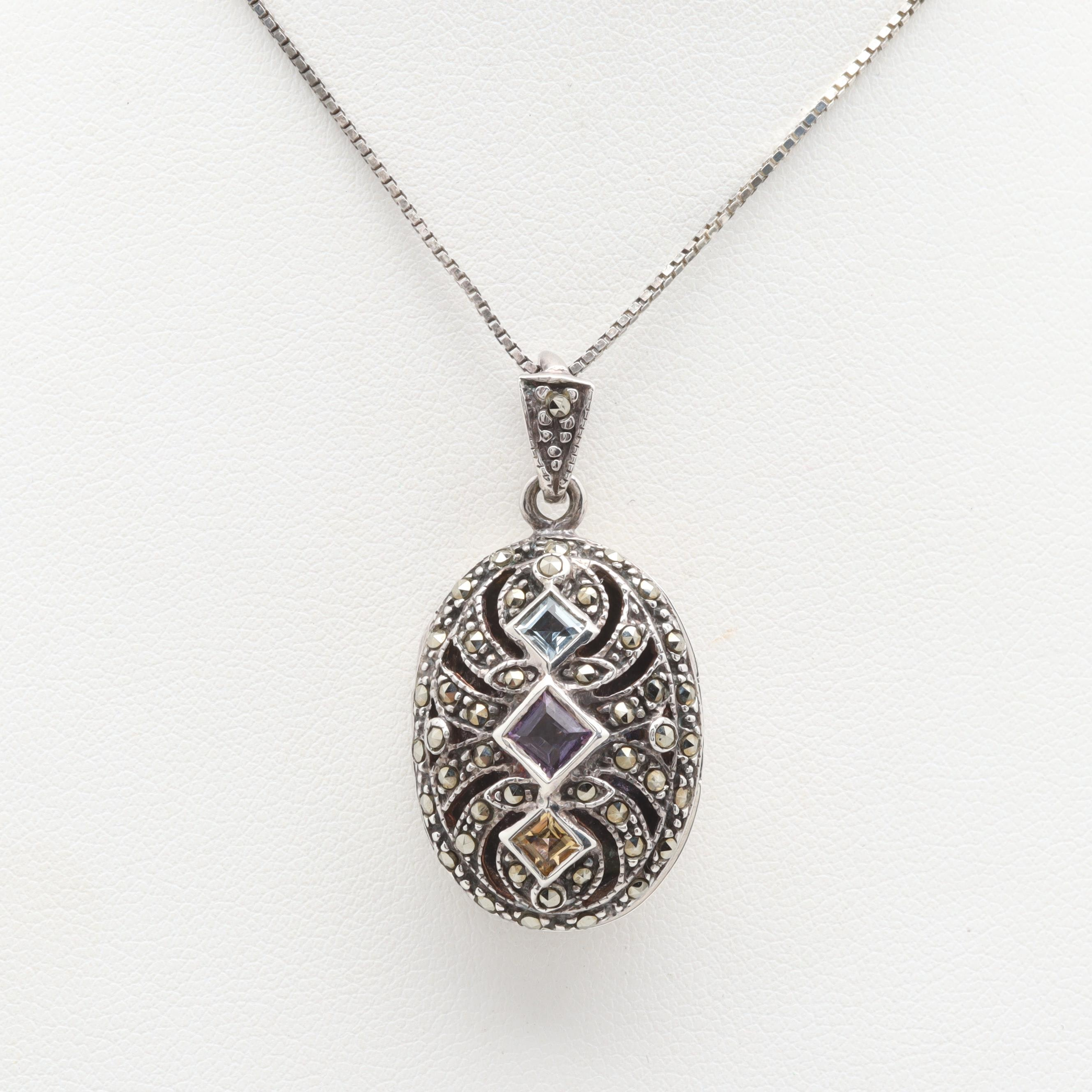 Sterling Silver Blue Topaz and Gemstone Locket Necklace
