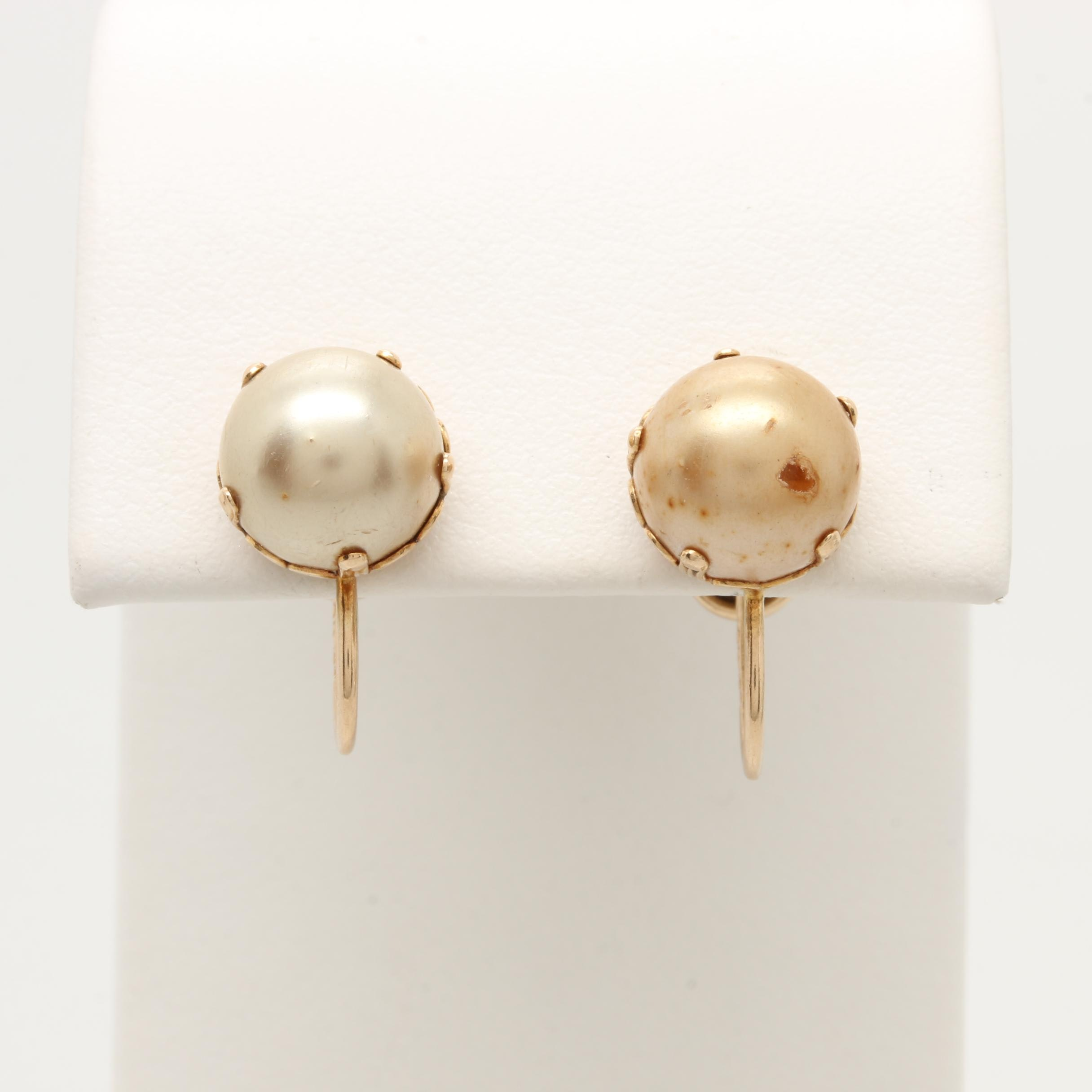 10K Yellow Gold Imitation Pearl Earrings