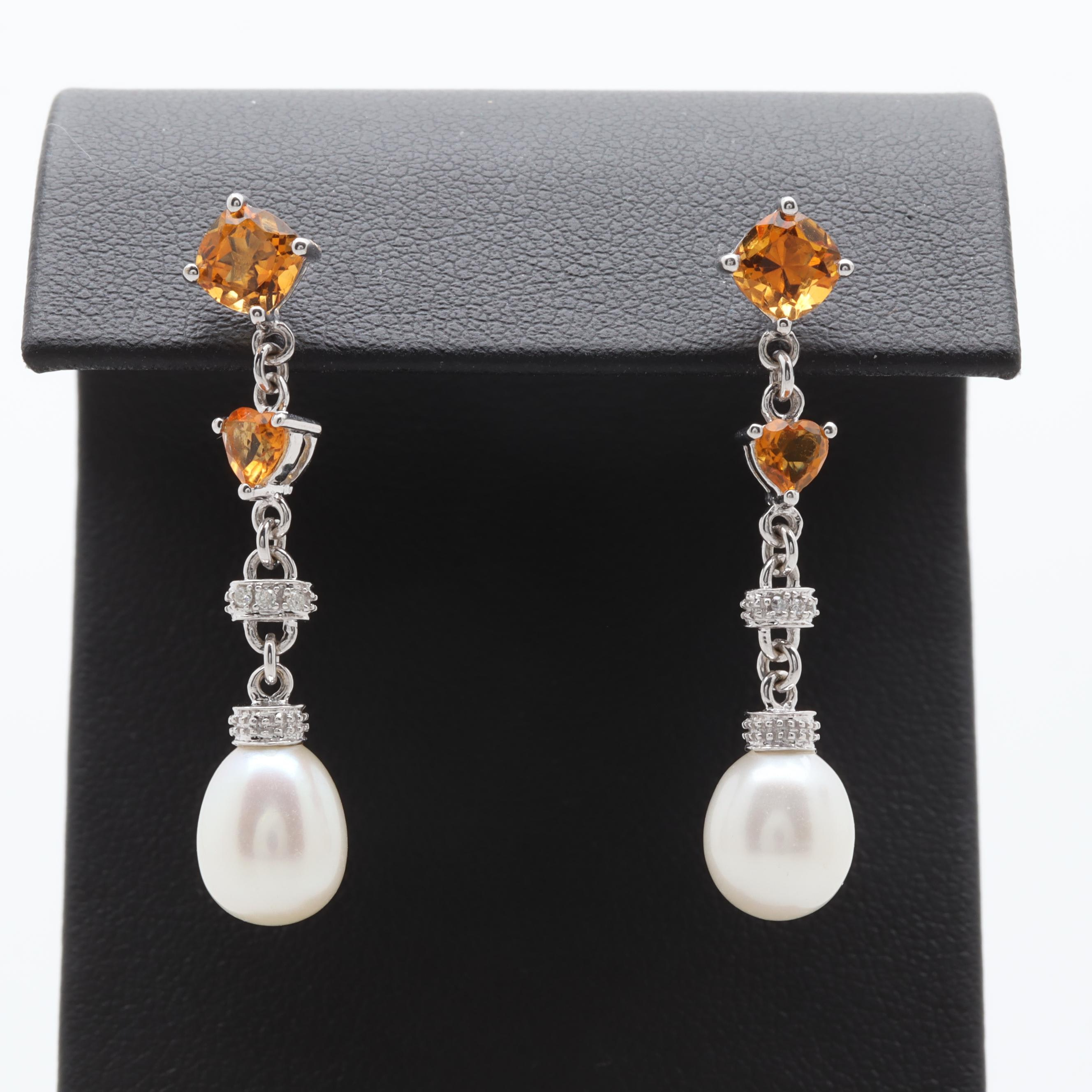 14K White Gold Citrine, Diamond and Cultured Pearl Earrings