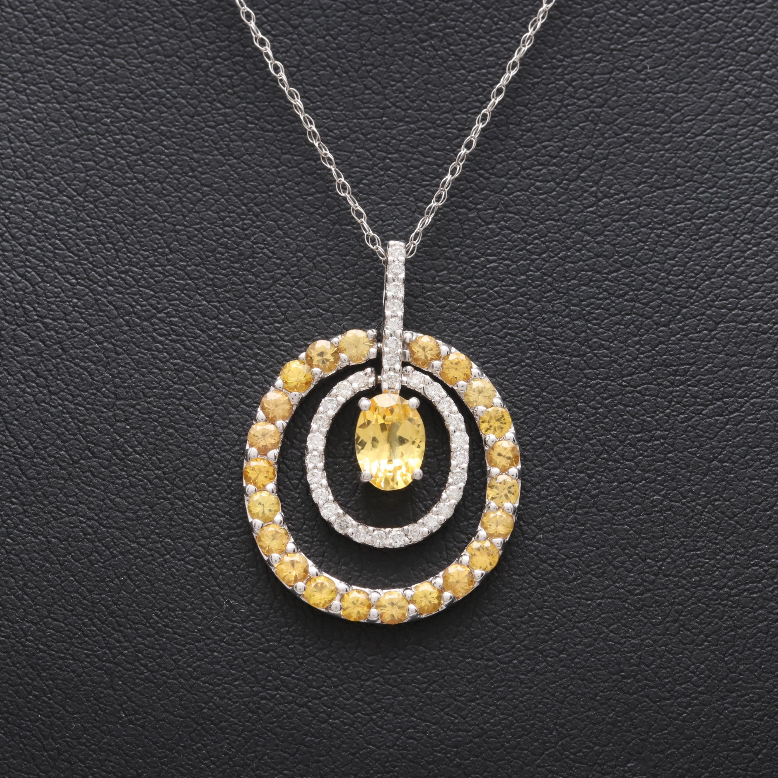 14K White Gold Yellow Sapphire and Diamond Necklace