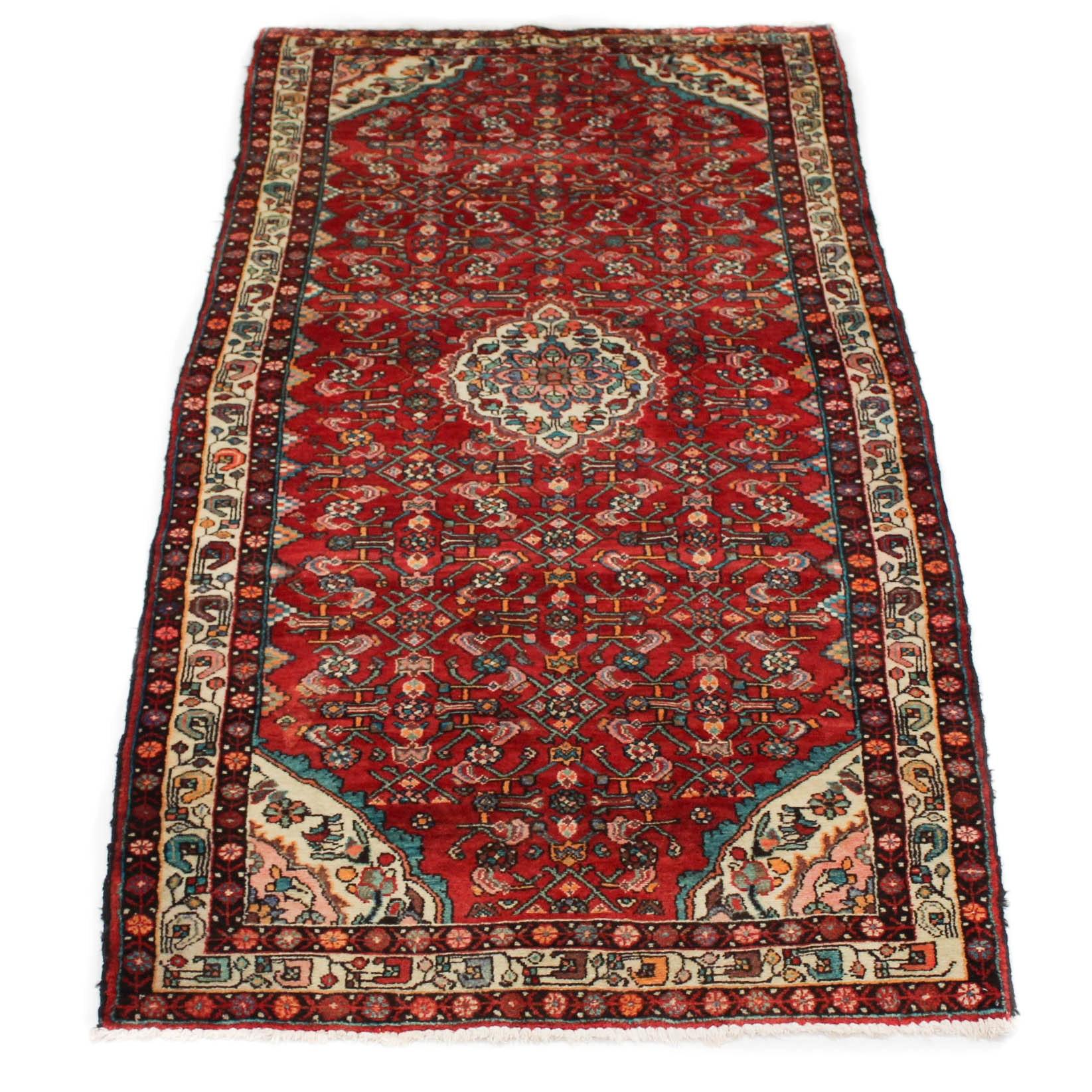 Semi-Antique Hand-Knotted Persian Zanjan Long Rug