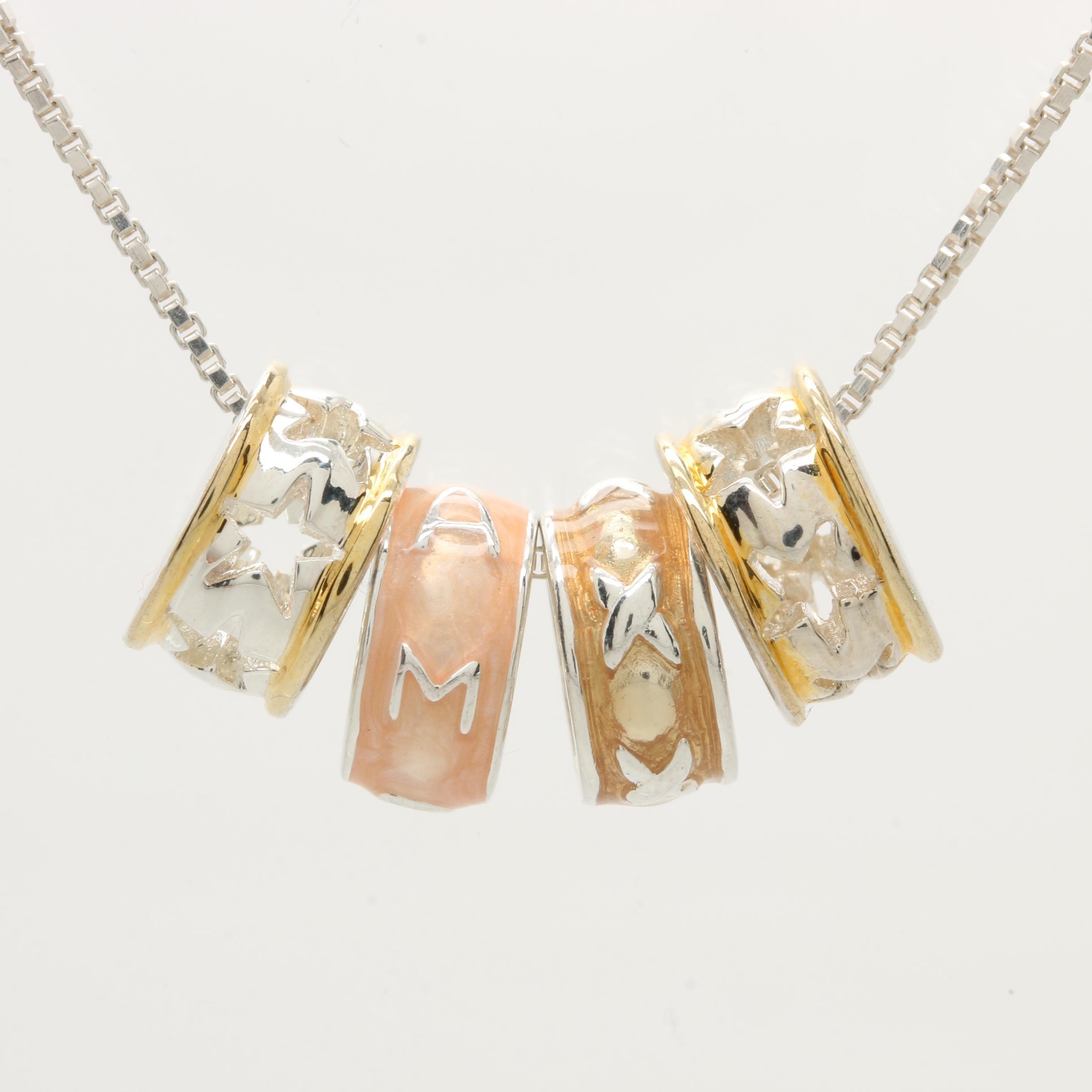 Sterling Silver Enamel Slide Charm Necklace