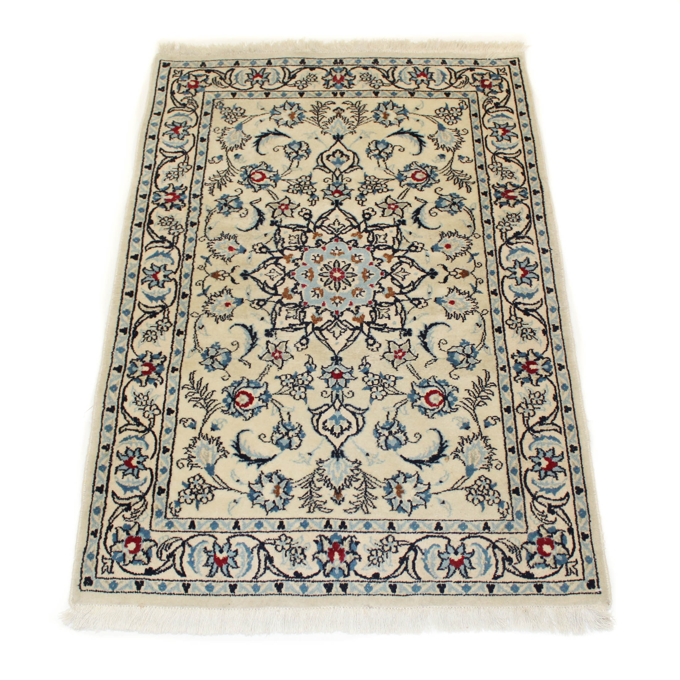Fine Silk and Wool Hand Knotted Persian Nain Area Rug