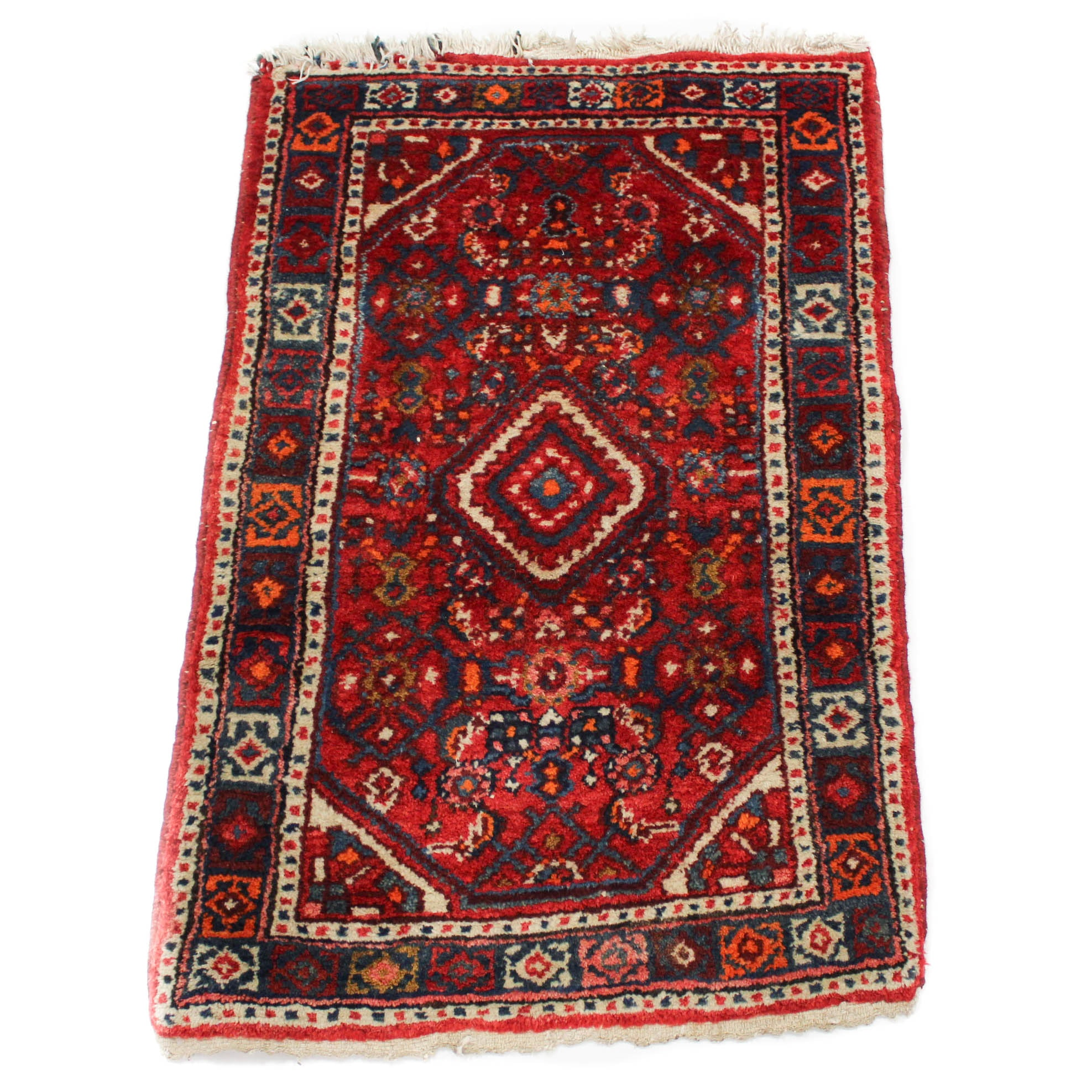 Hand Knotted Semi-Antique Persian Zanjan Accent Rug