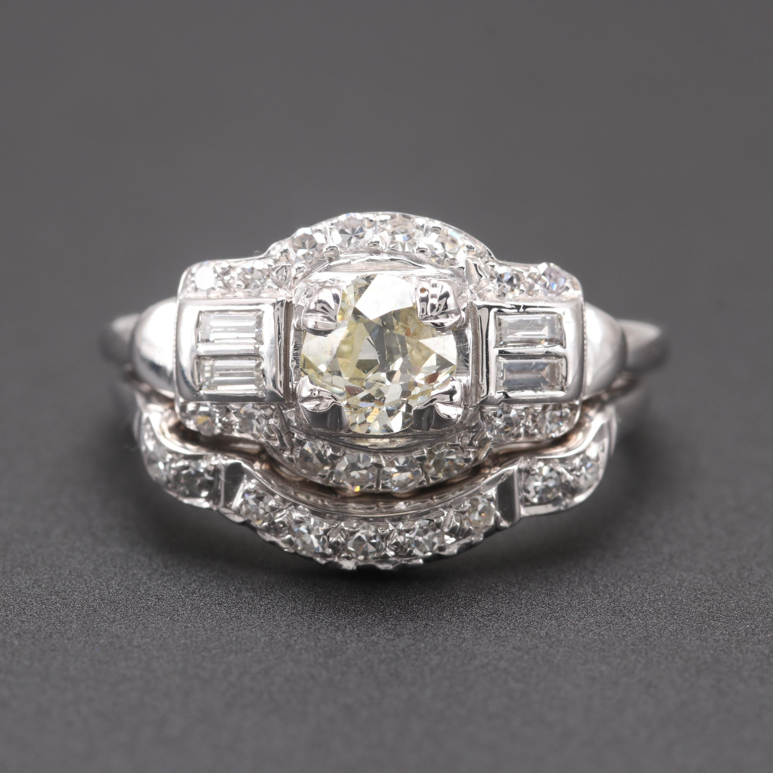Circa 1940s 14K White Gold 1.06 CTW Diamond Wedding Ring Set