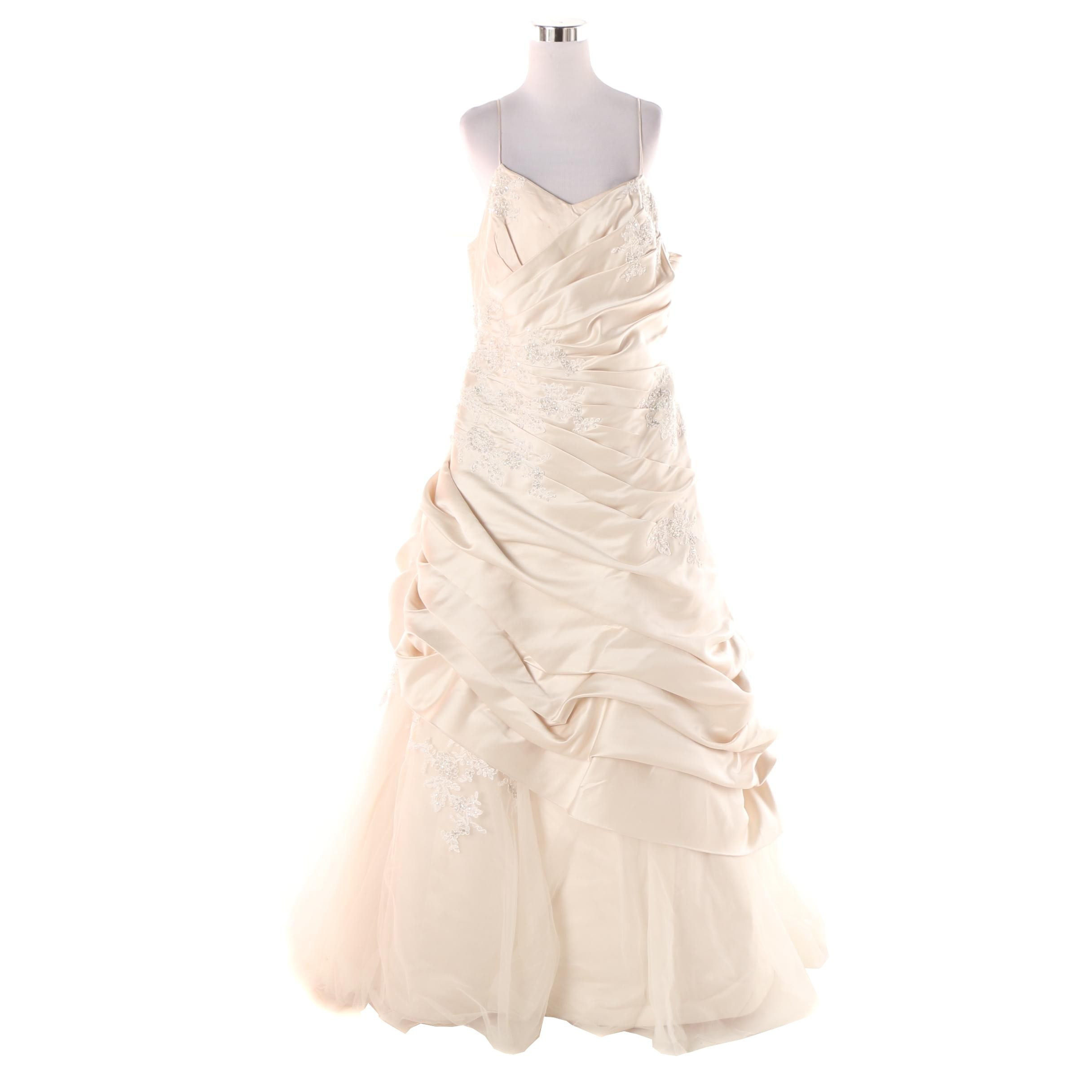 Champagne Satin Beaded Floral Lace Sleeveless Wedding Gown