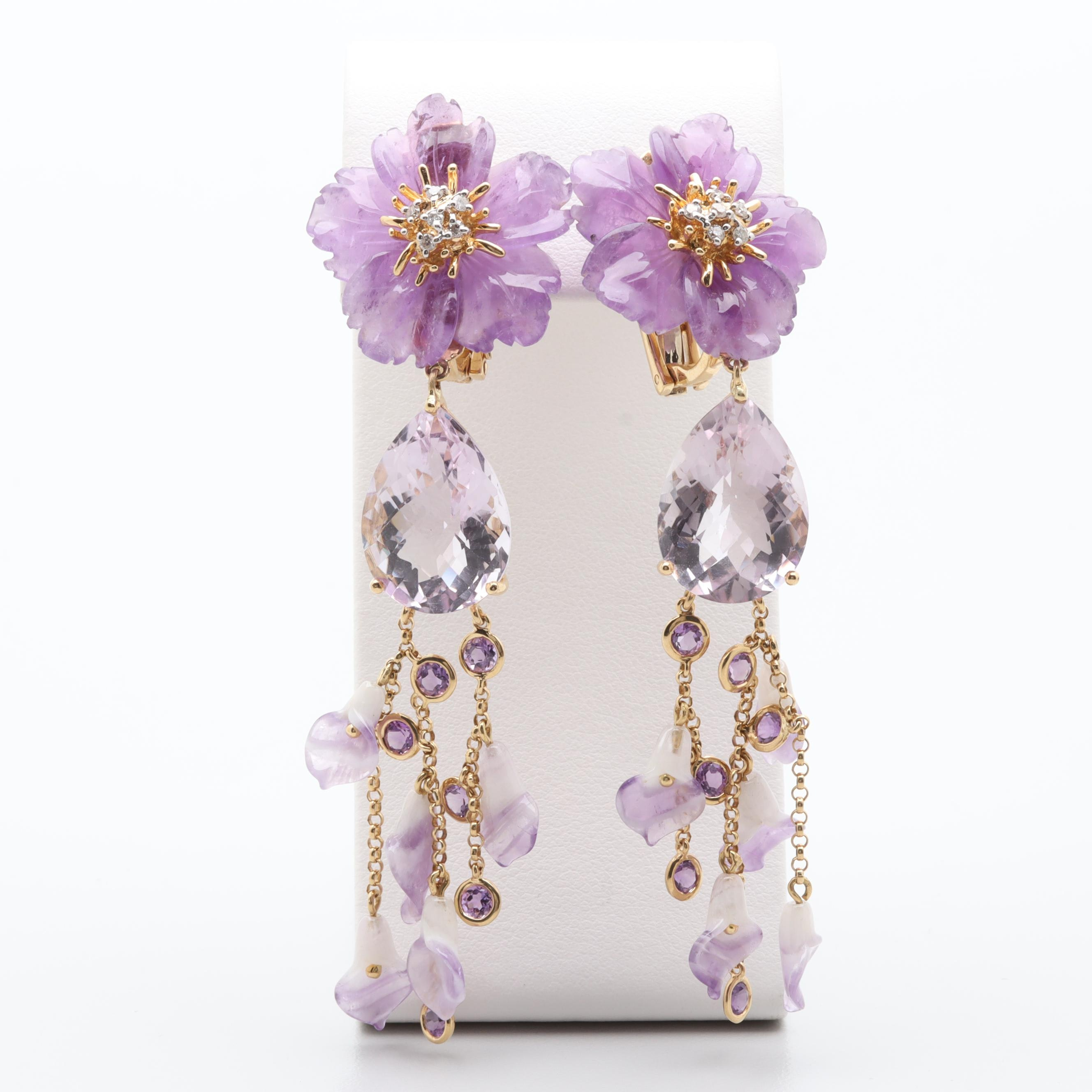 18K Yellow Gold Amethyst and Diamond Floral Motif Dangle Earrings