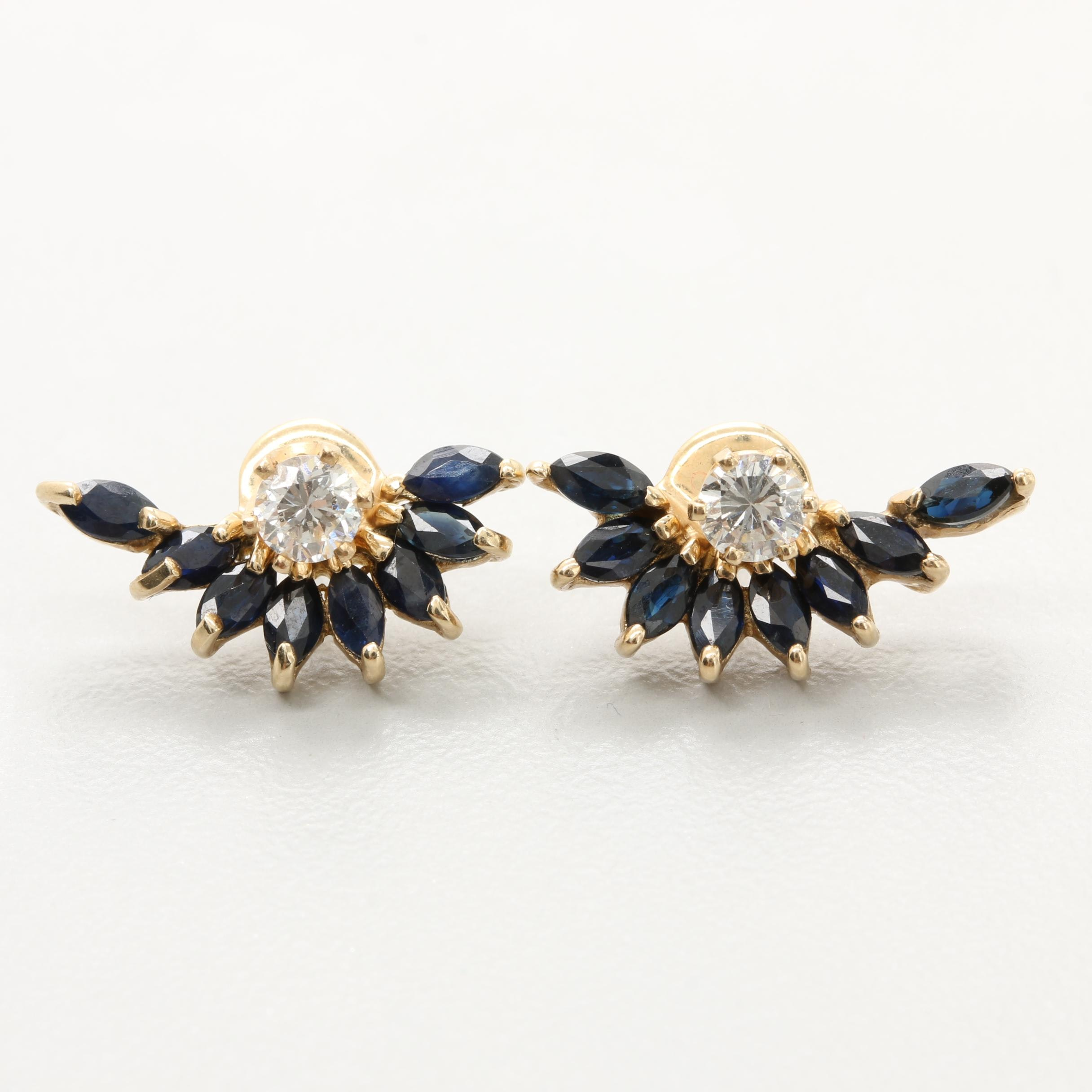 10K and 14K Yellow Gold Diamond and Blue Sapphire Earrings