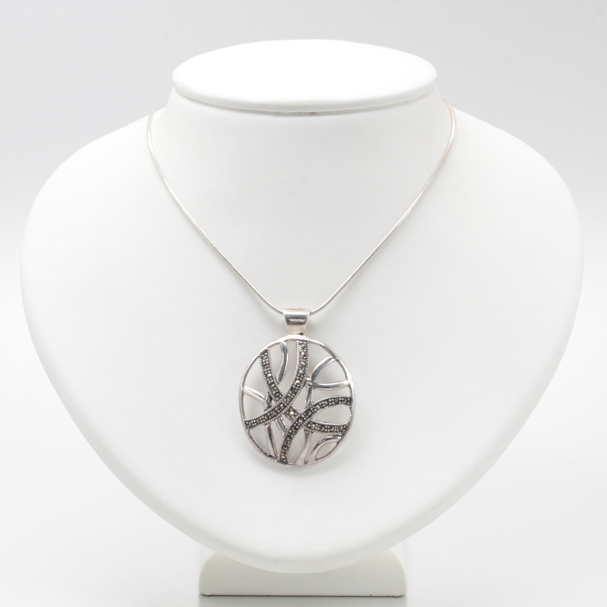 Paolo Romeo Sterling Silver Marcasite Pendant Necklace