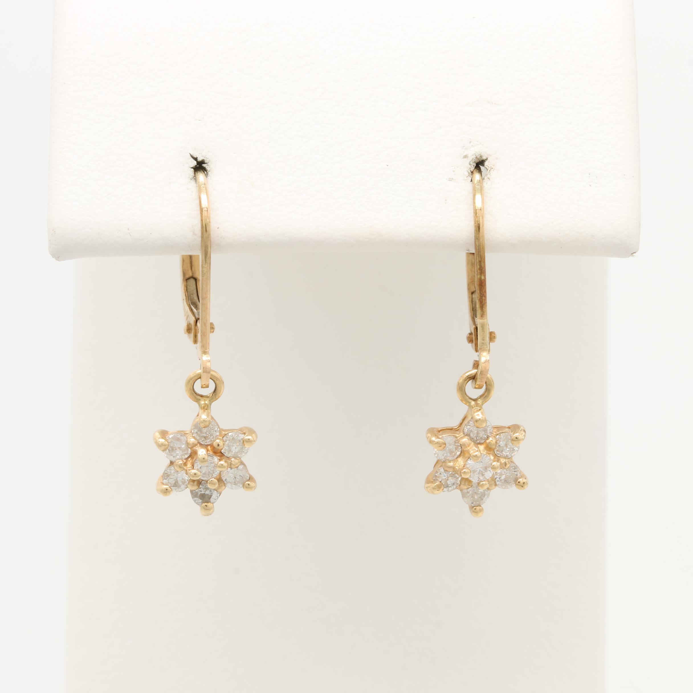 14K Yellow Gold Diamond Star Earrings