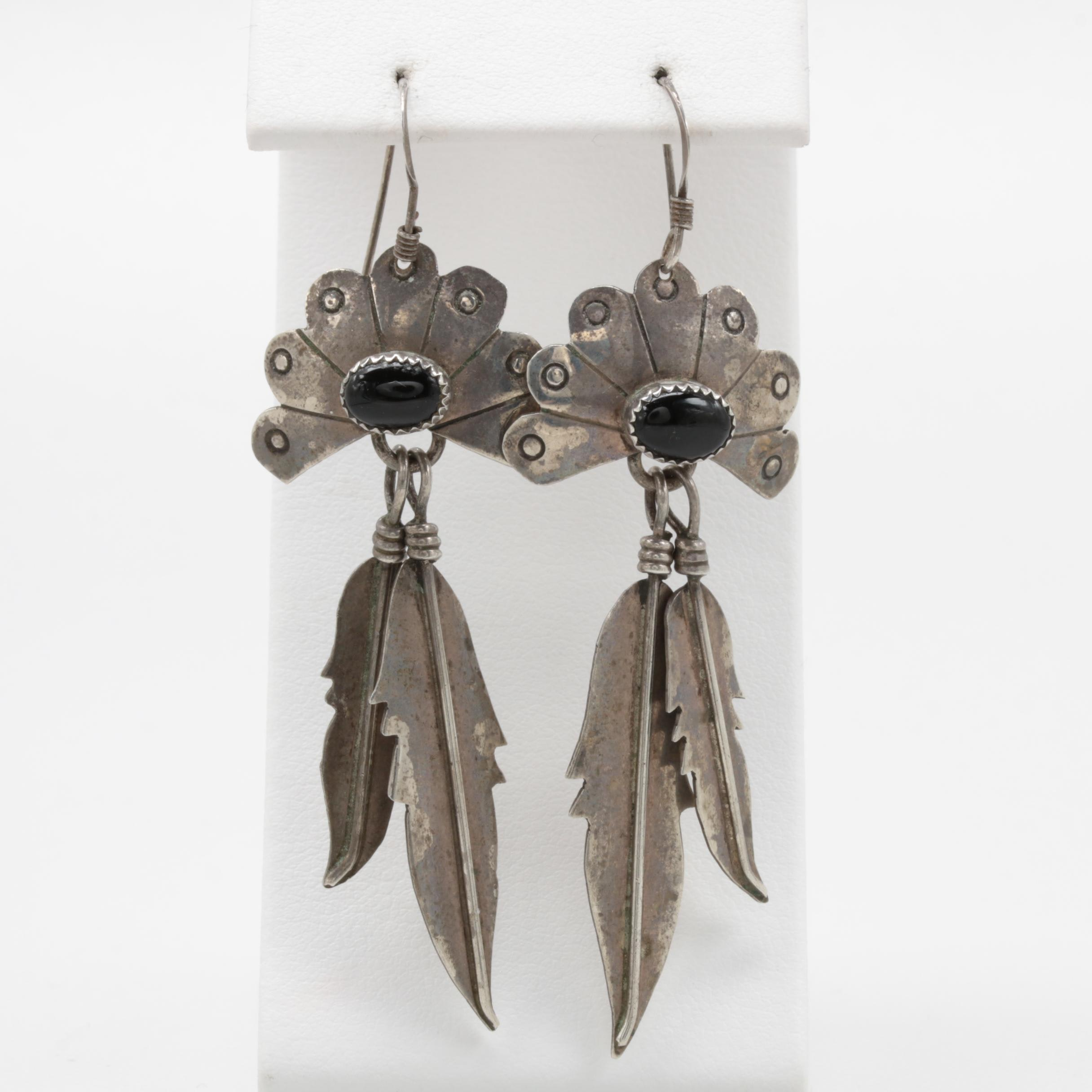 E. Yazzie Navajo Diné Sterling Silver Black Onyx Earrings