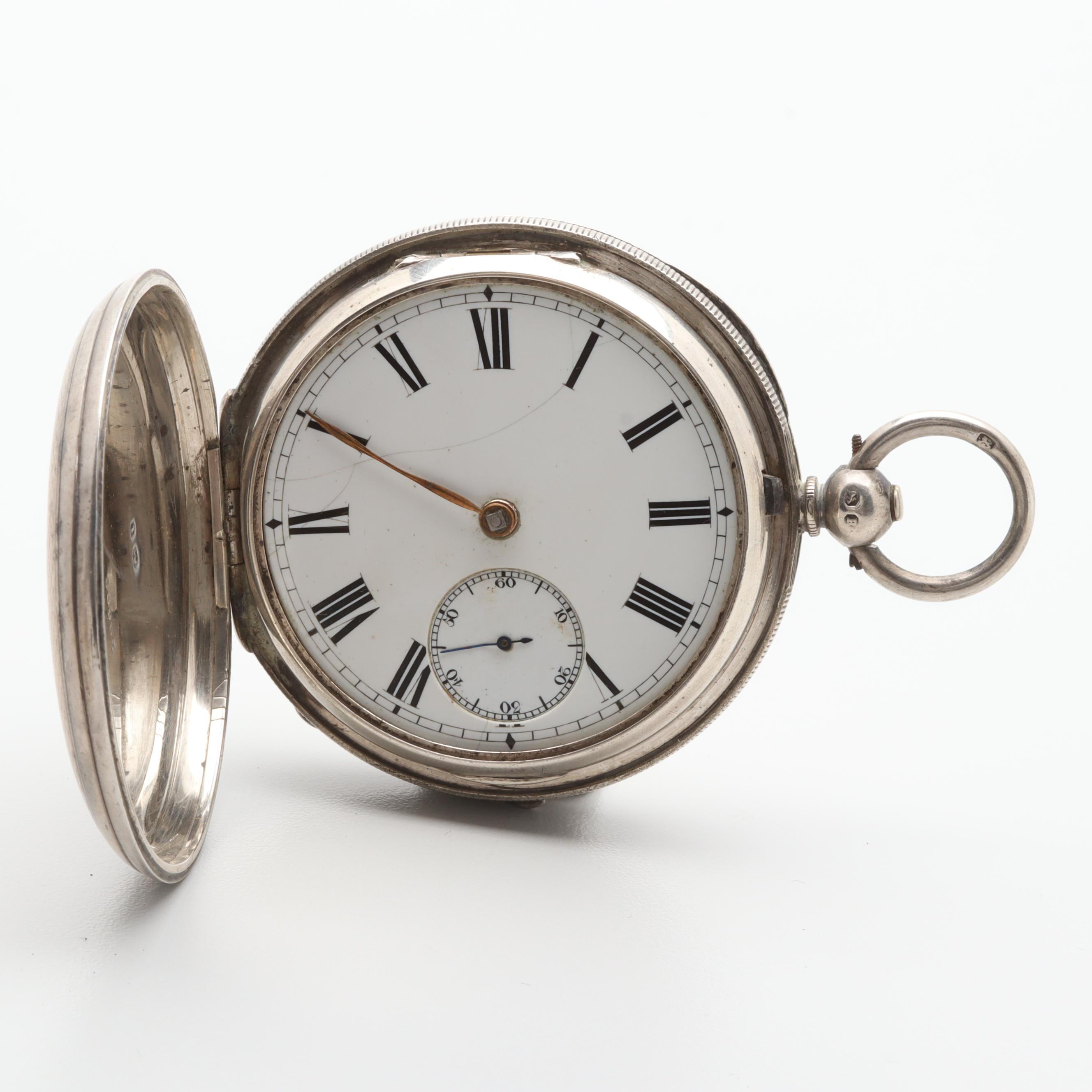 Sterling Silver White Dial Pocket Watch