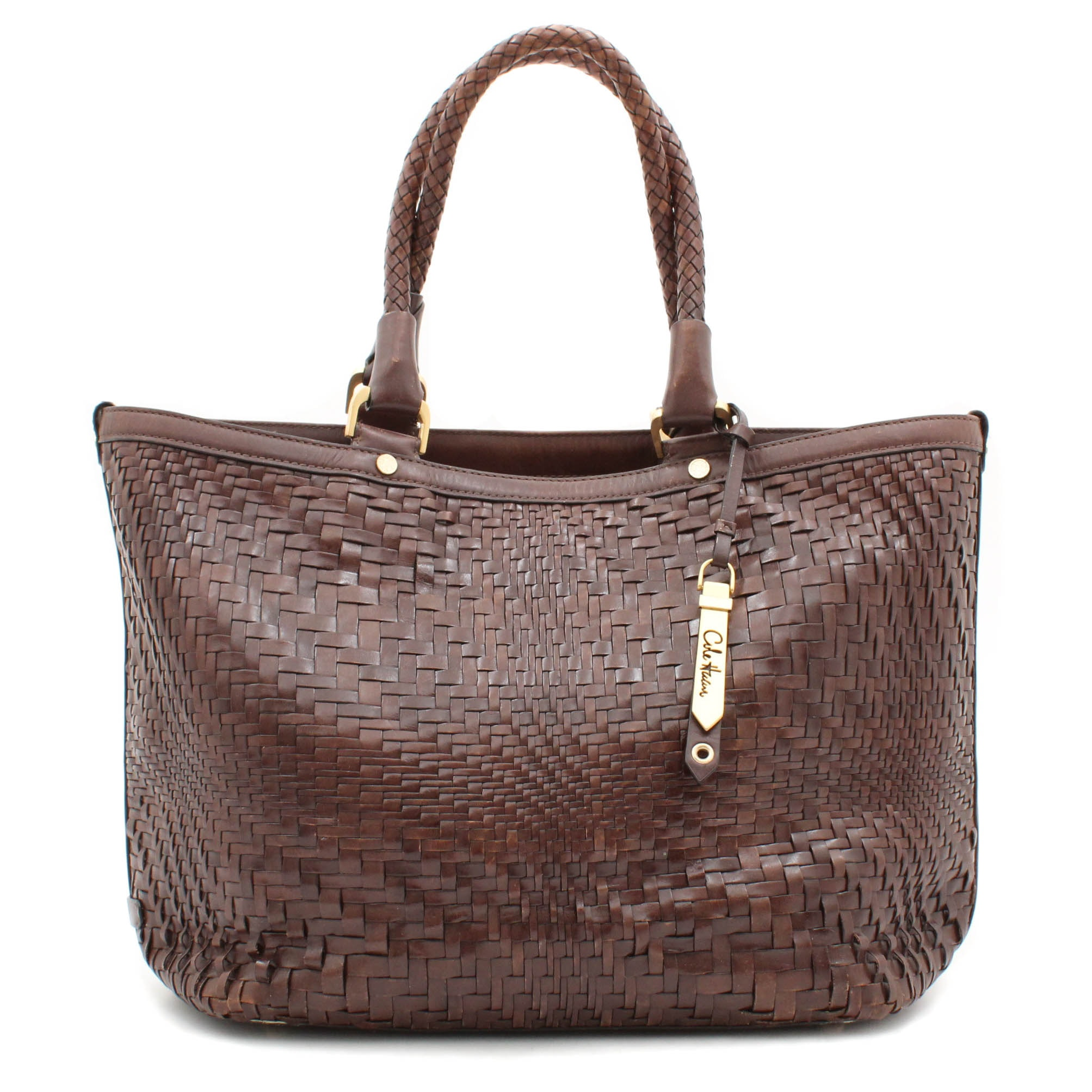 Cole Haan Genevieve Weave Triangle Brown Leather Tote