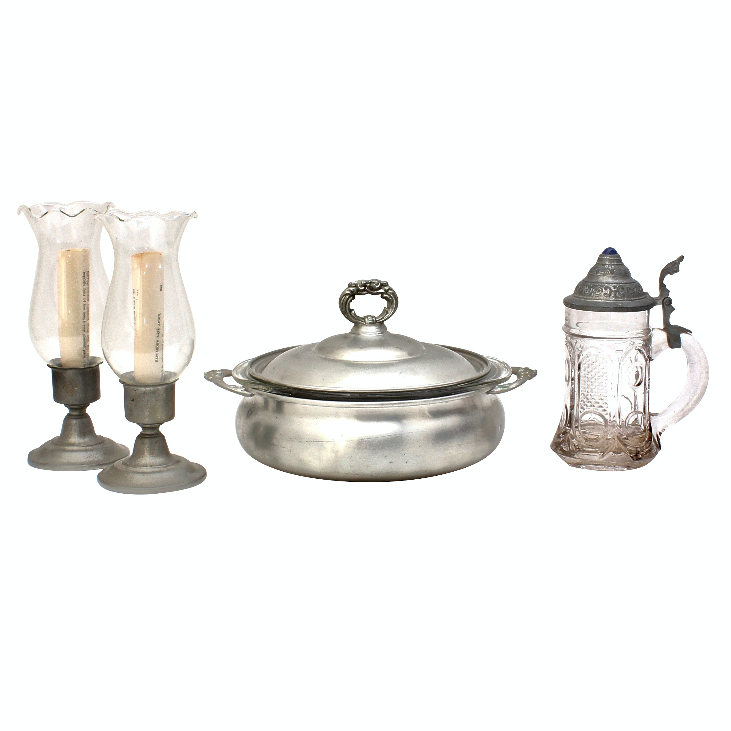 Pewter Stein Mug, Candle Holders and Dish