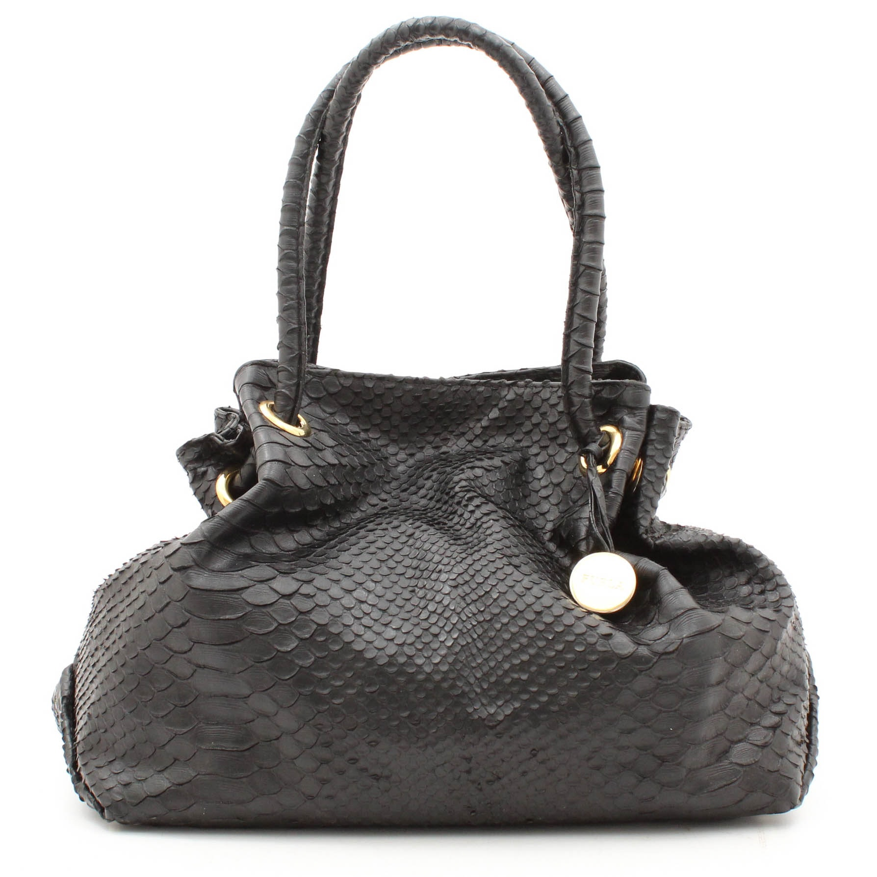 Furla Snakeskin Embossed Black Leather Slouch Hobo