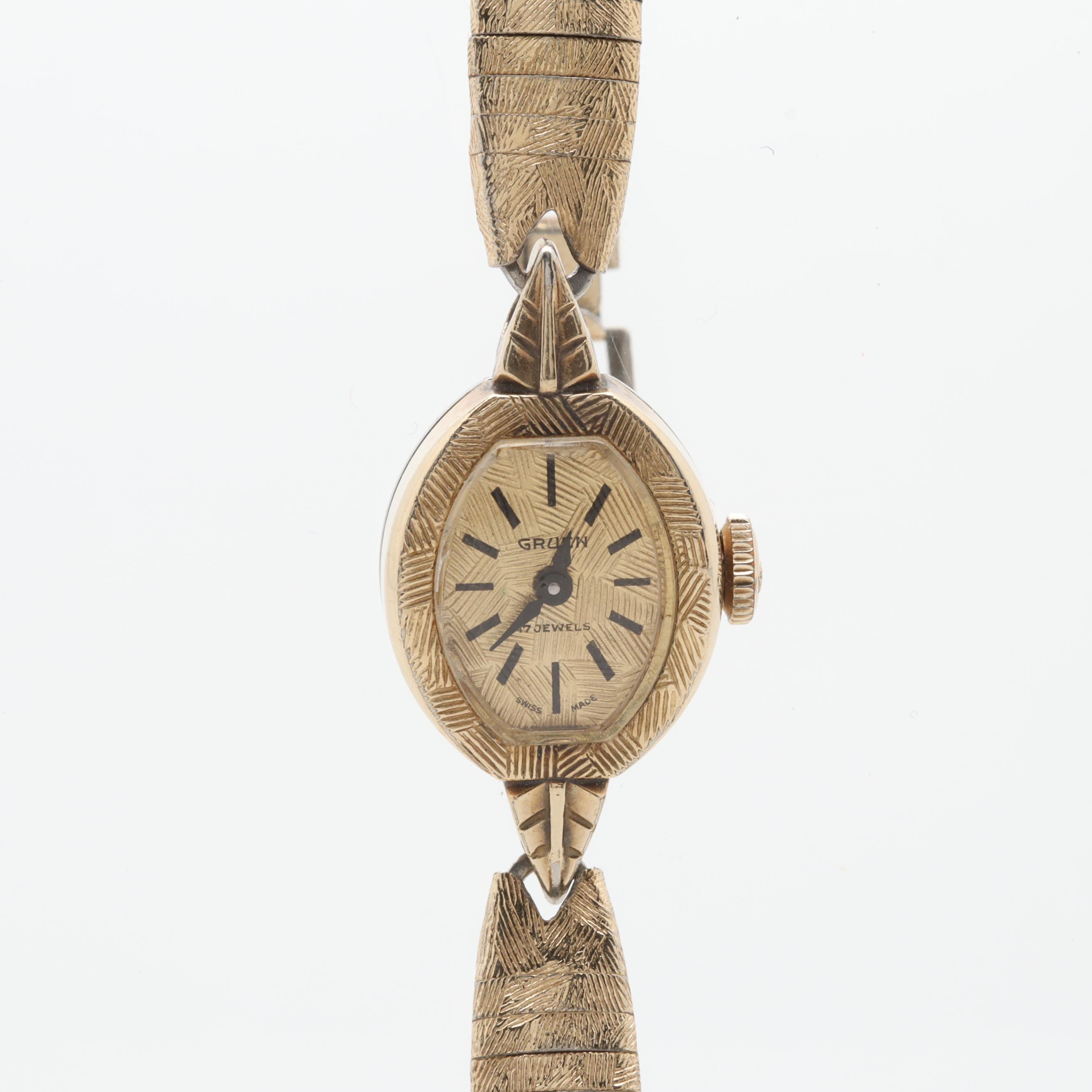 Gruen 489A 10K Gold Plated Stem Wind Wristwatch