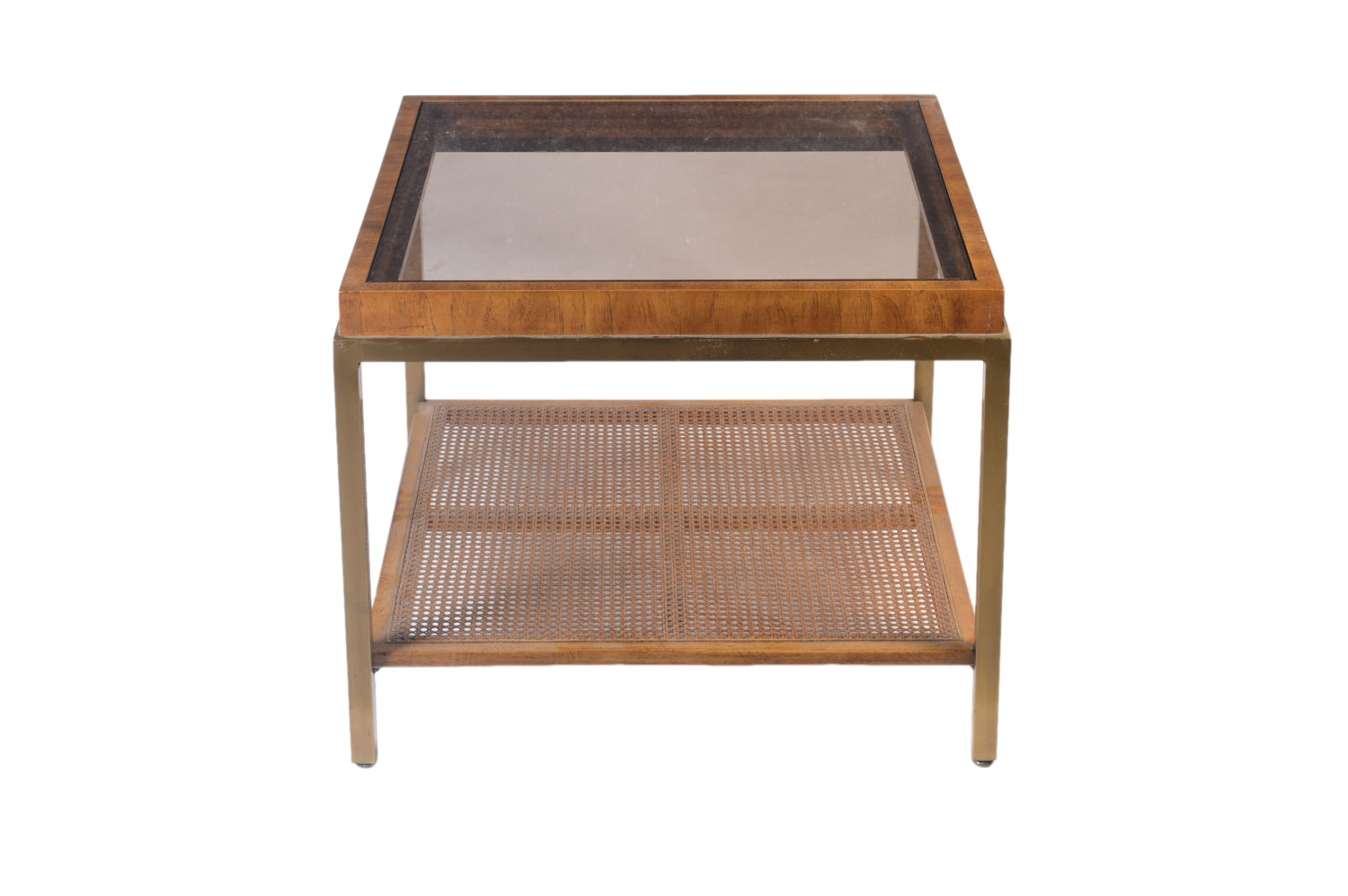 Vintage Mid-Century Glass Top Side Table by Drexel-Heritage