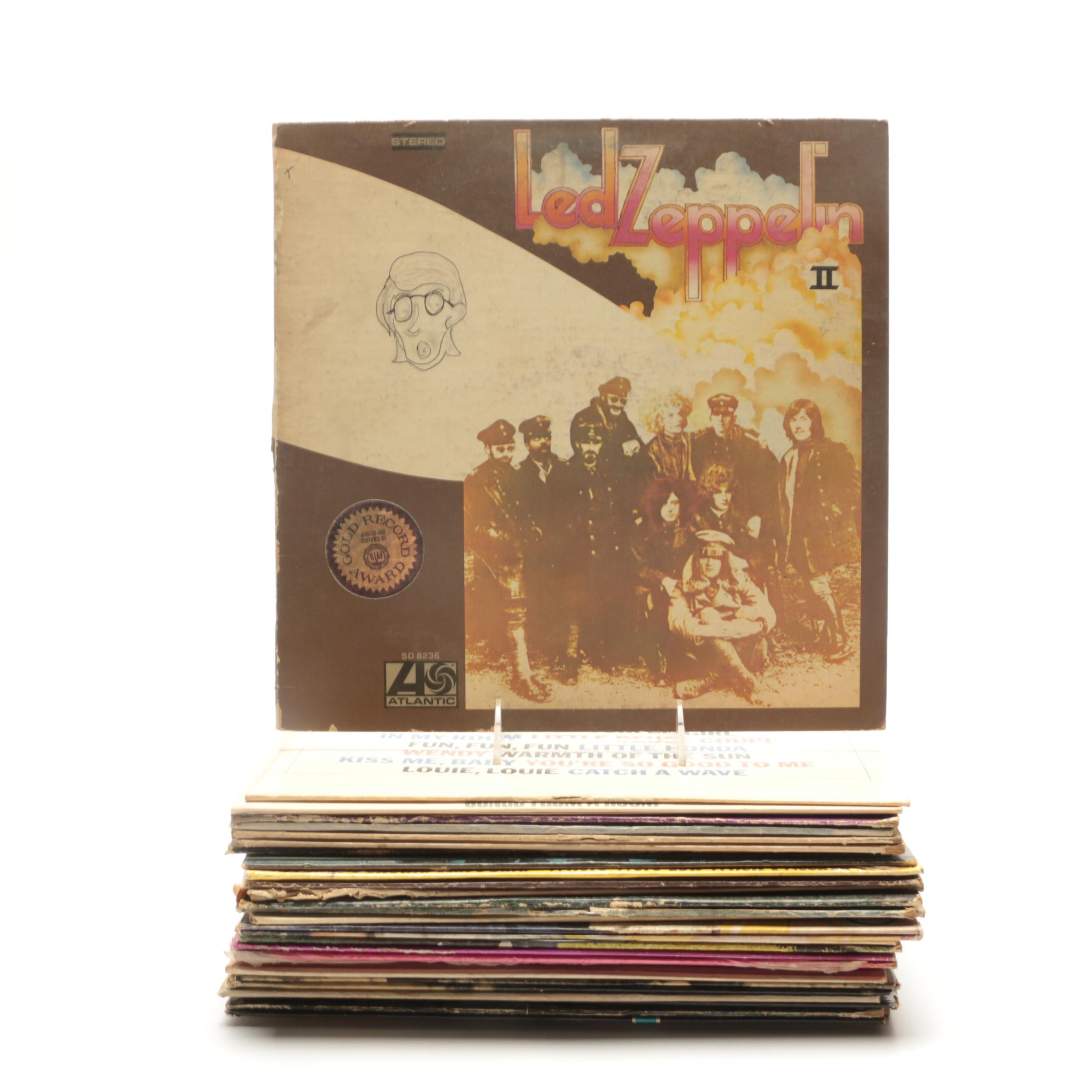 Assortment of LP Records Including Led Zeppelin, Jefferson Airplane and More