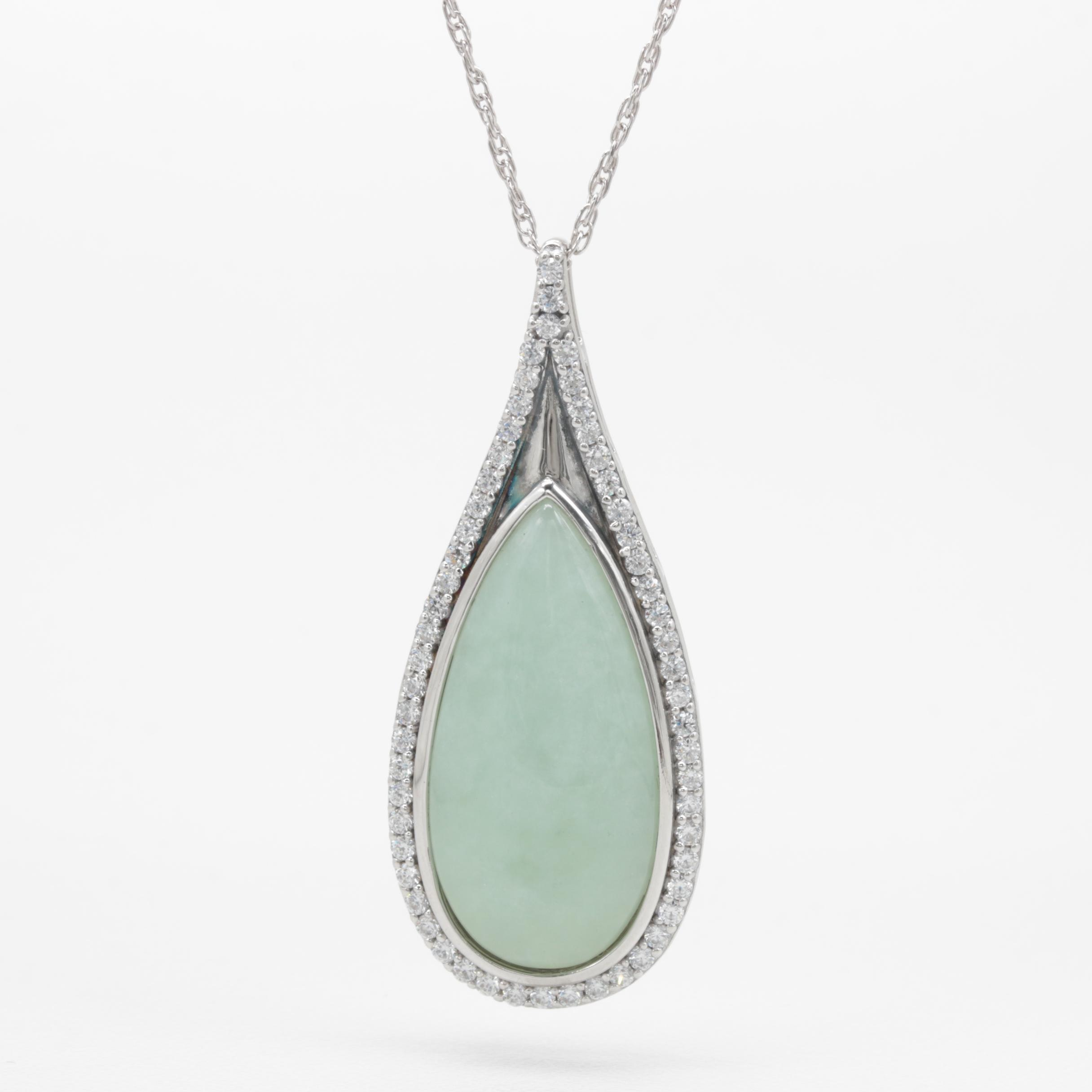 Sterling Silver Jadeite and Cubic Zirconia Pendant Necklace